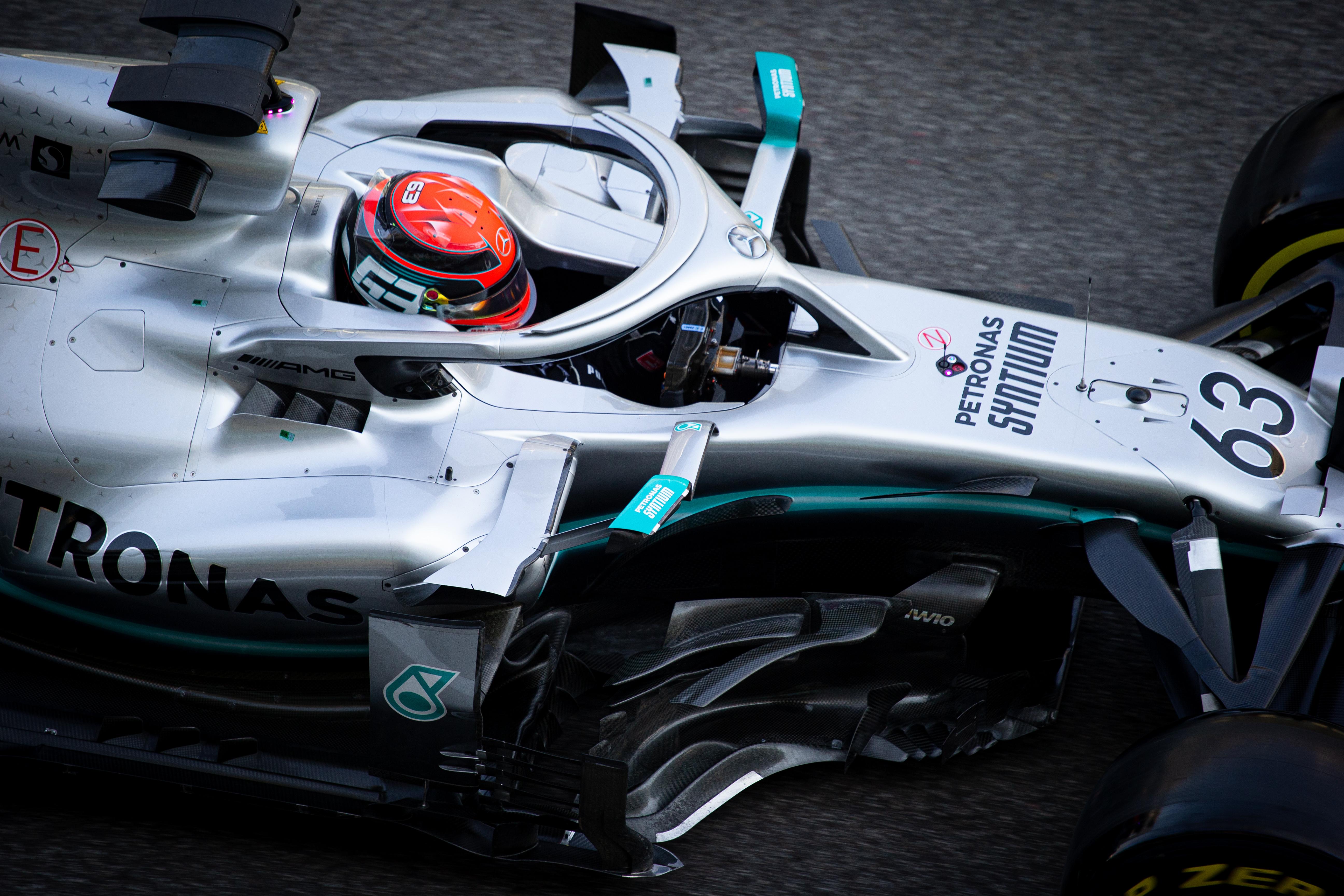 George Russell Mercedes F1 Abu Dhabi test 2019