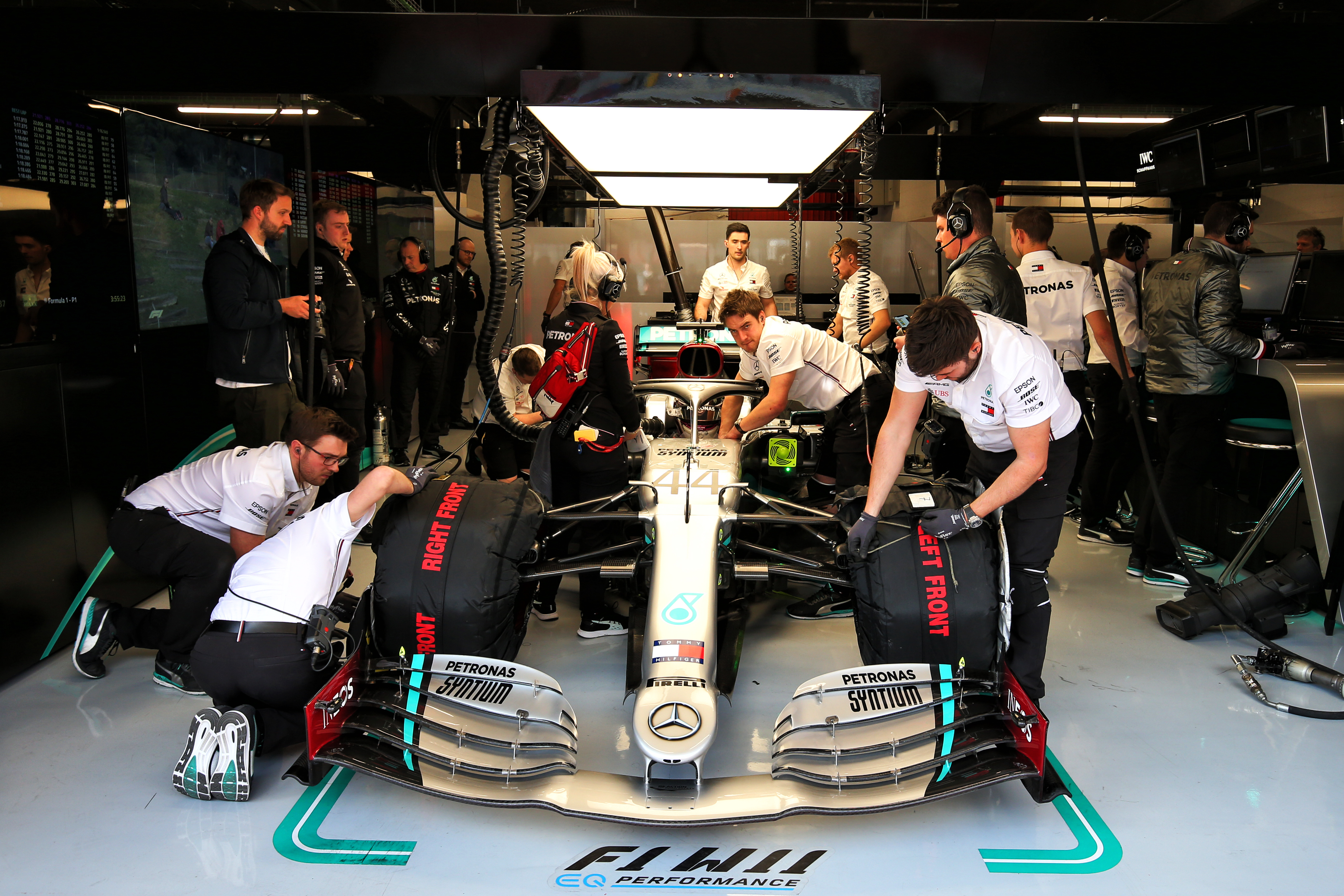 Mercedes F1 mechanics in garage at testing Barcelona 2020