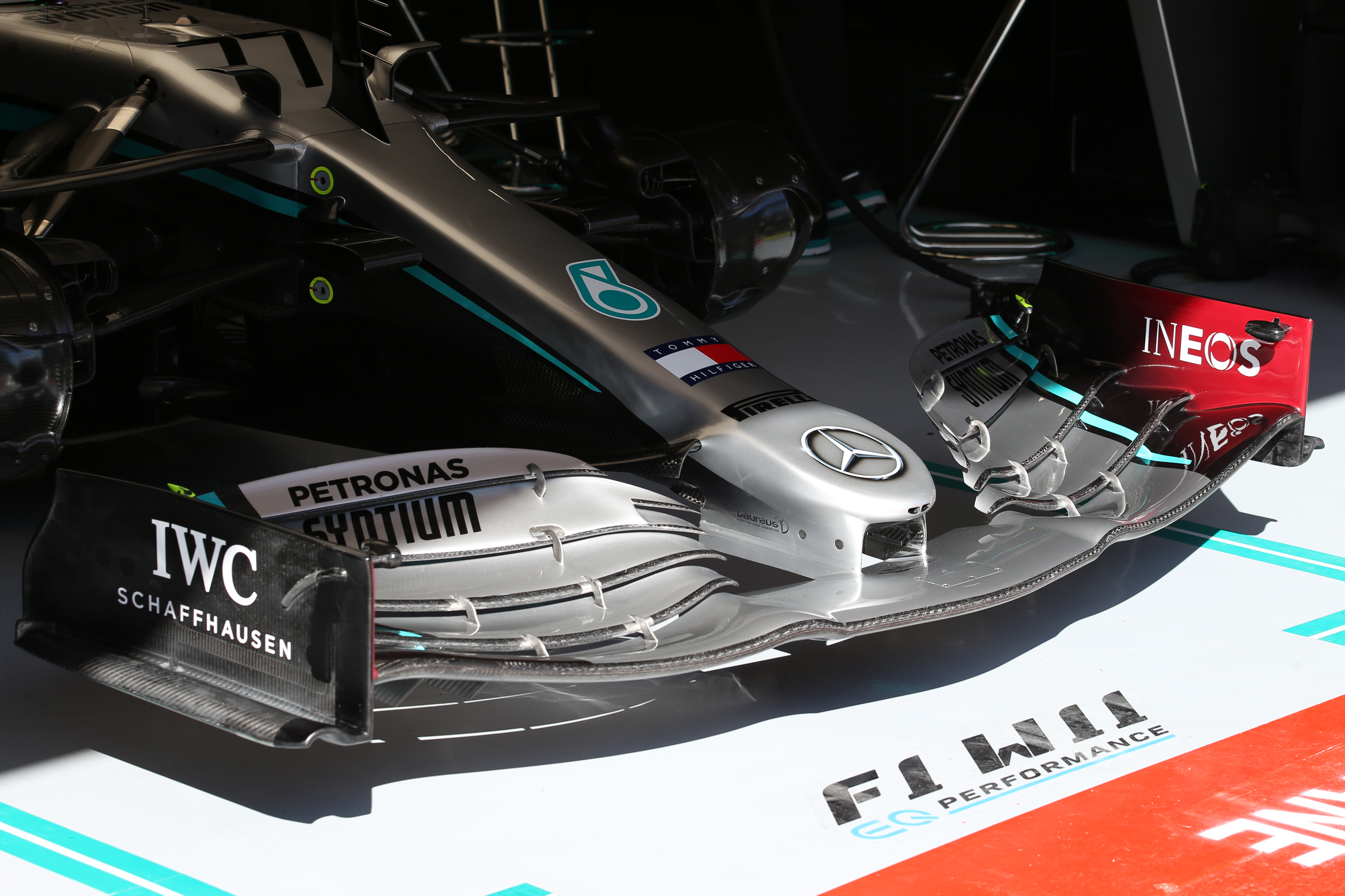 Mercedes front wing F1 Motor Racing Formula One Testing Test One Day 1 Barcelona, Spain