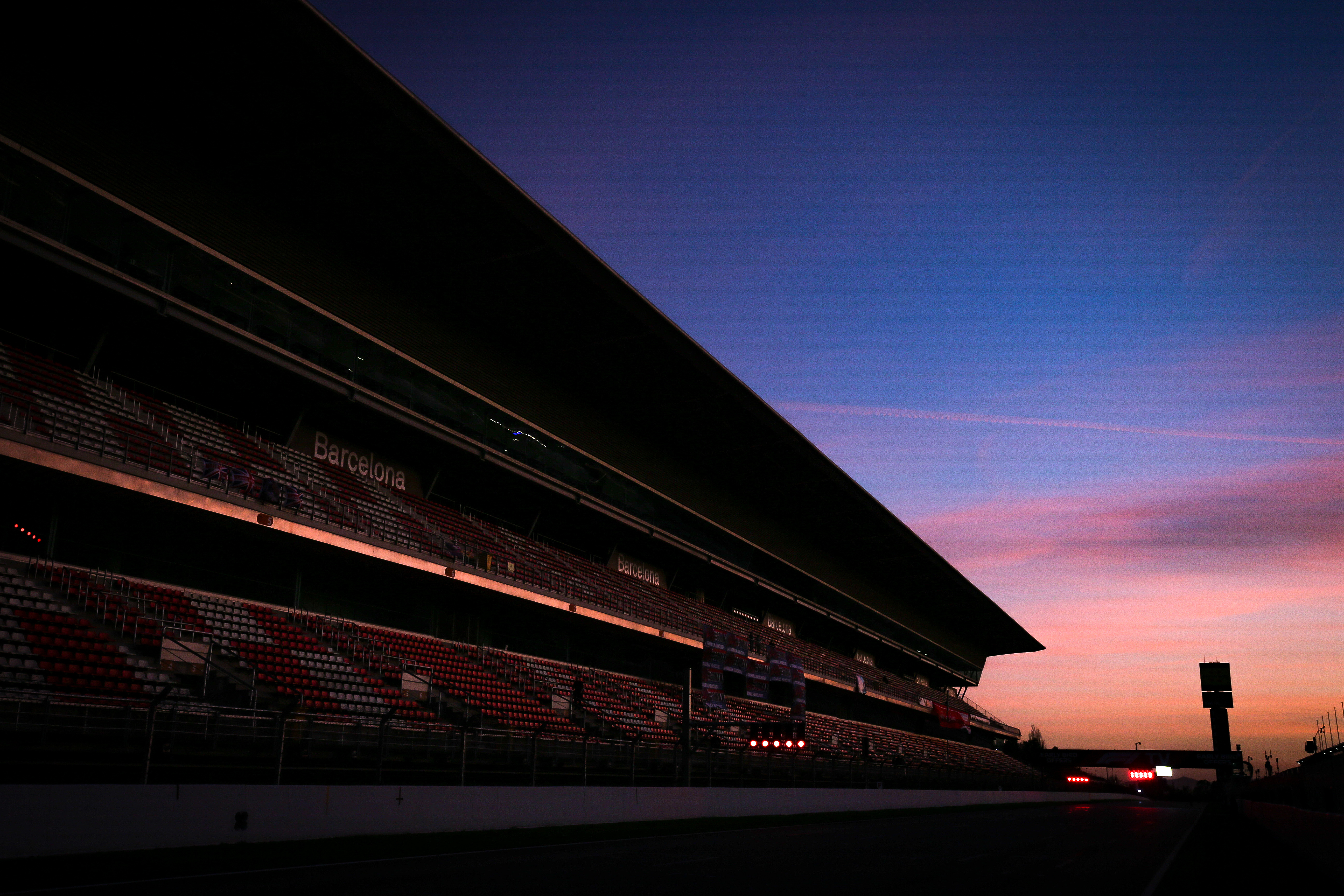 Barcelona F1 empty track and grandstand F1 testing 2020 sunset