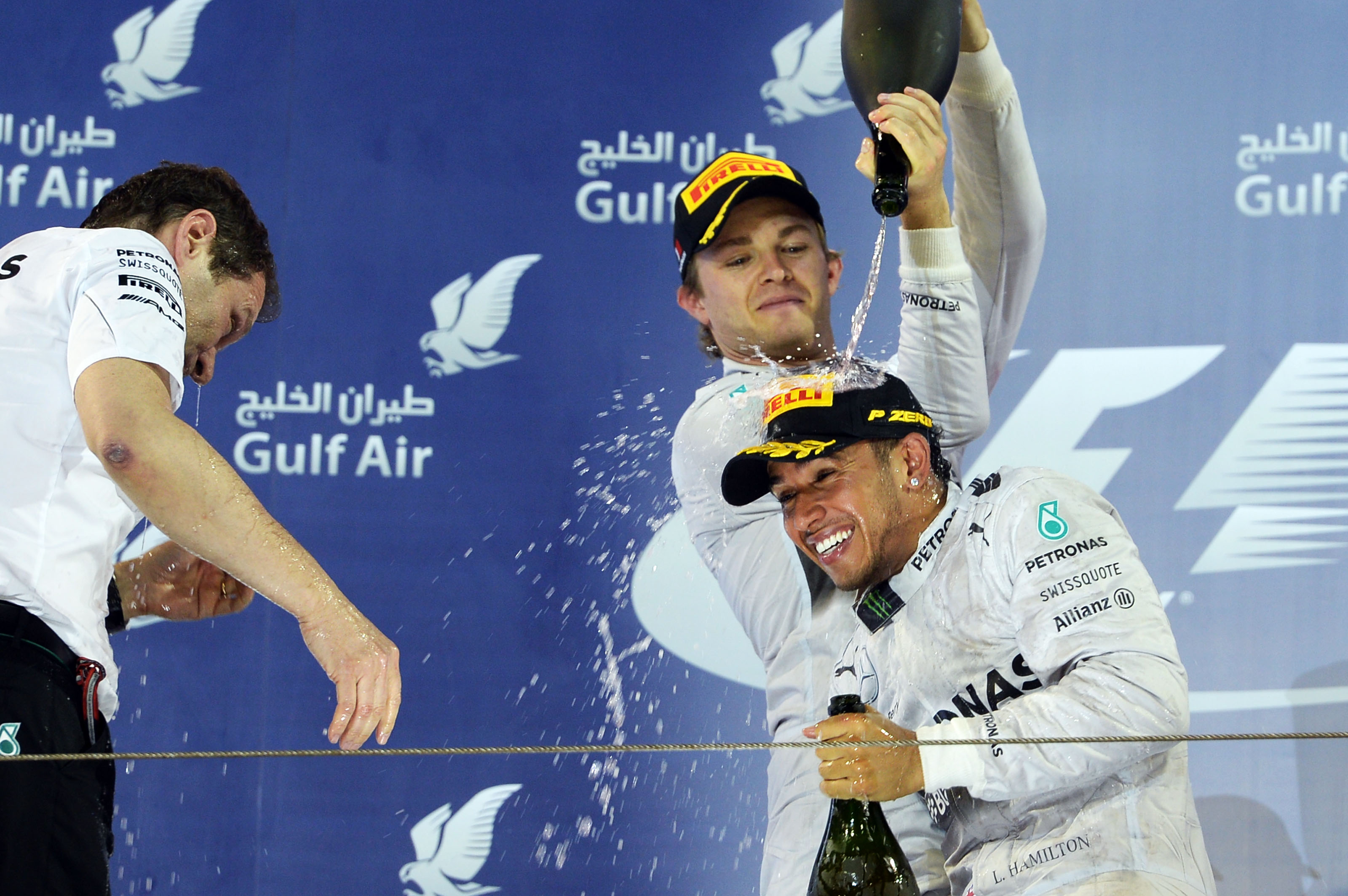 Nico Rosberg Lewis Hamilton Mercedes F1 Bahrain 2014