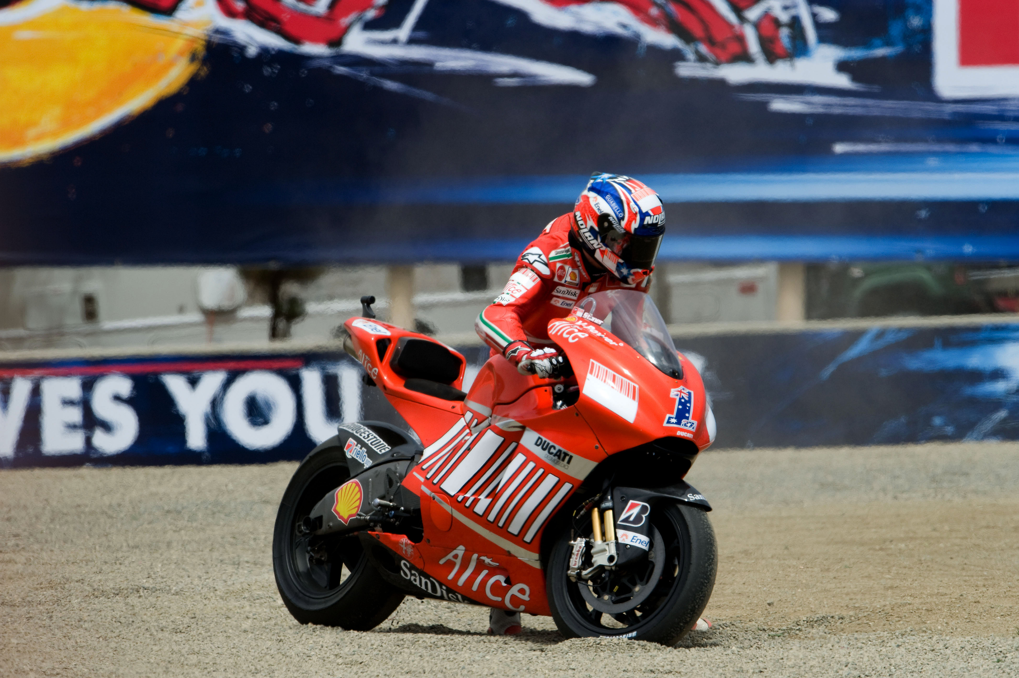 Casey Stoner Ducati goes off Laguna Seca MotoGP 2008
