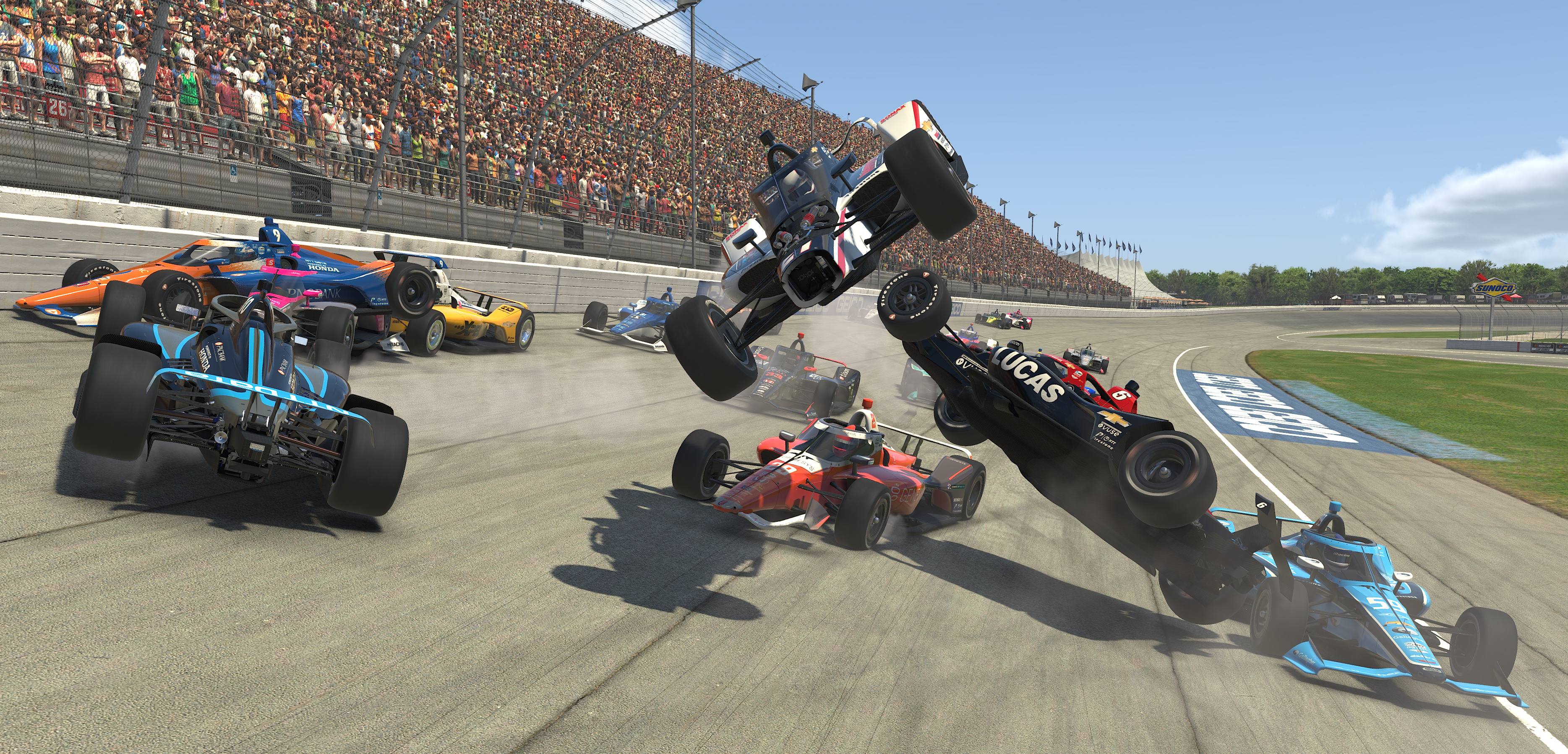 Michigan IndyCar iRacing Challenge crash