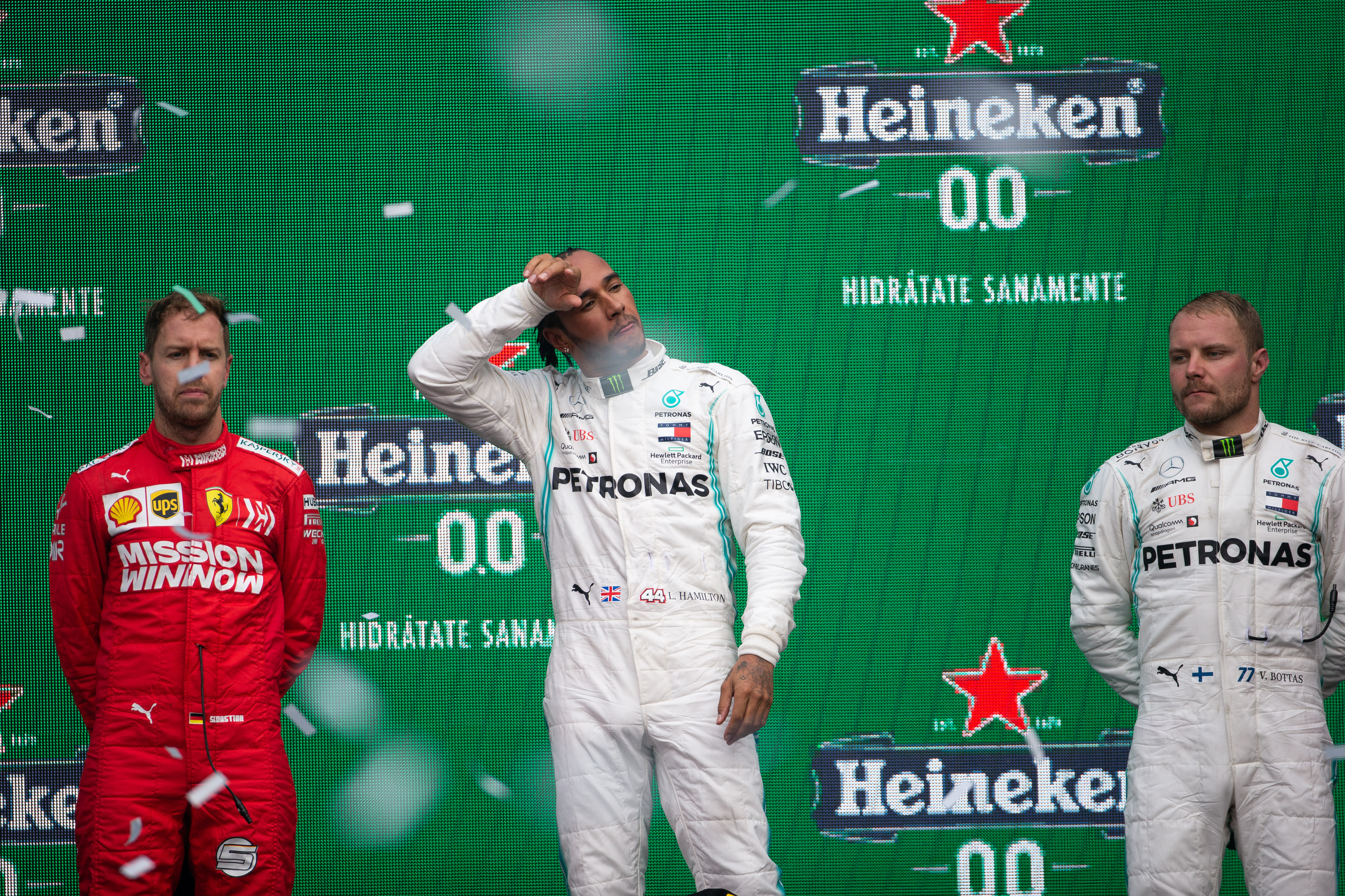 Sebastian Vettel Lewis Hamilton Valtteri Bottas Mexican Grand Prix podium 2019