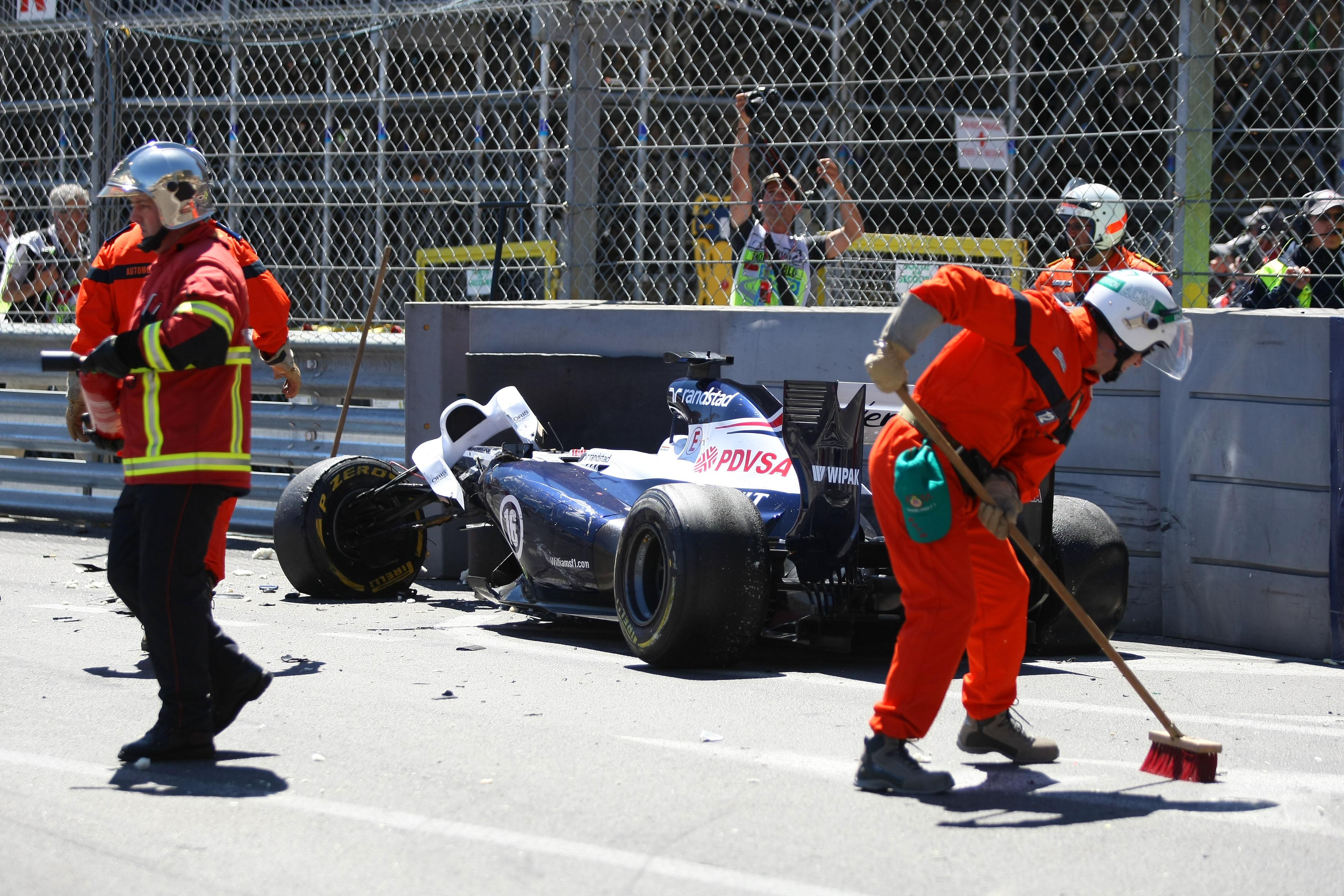 Pastor Maldonado crash Monaco Grand Prix 2013