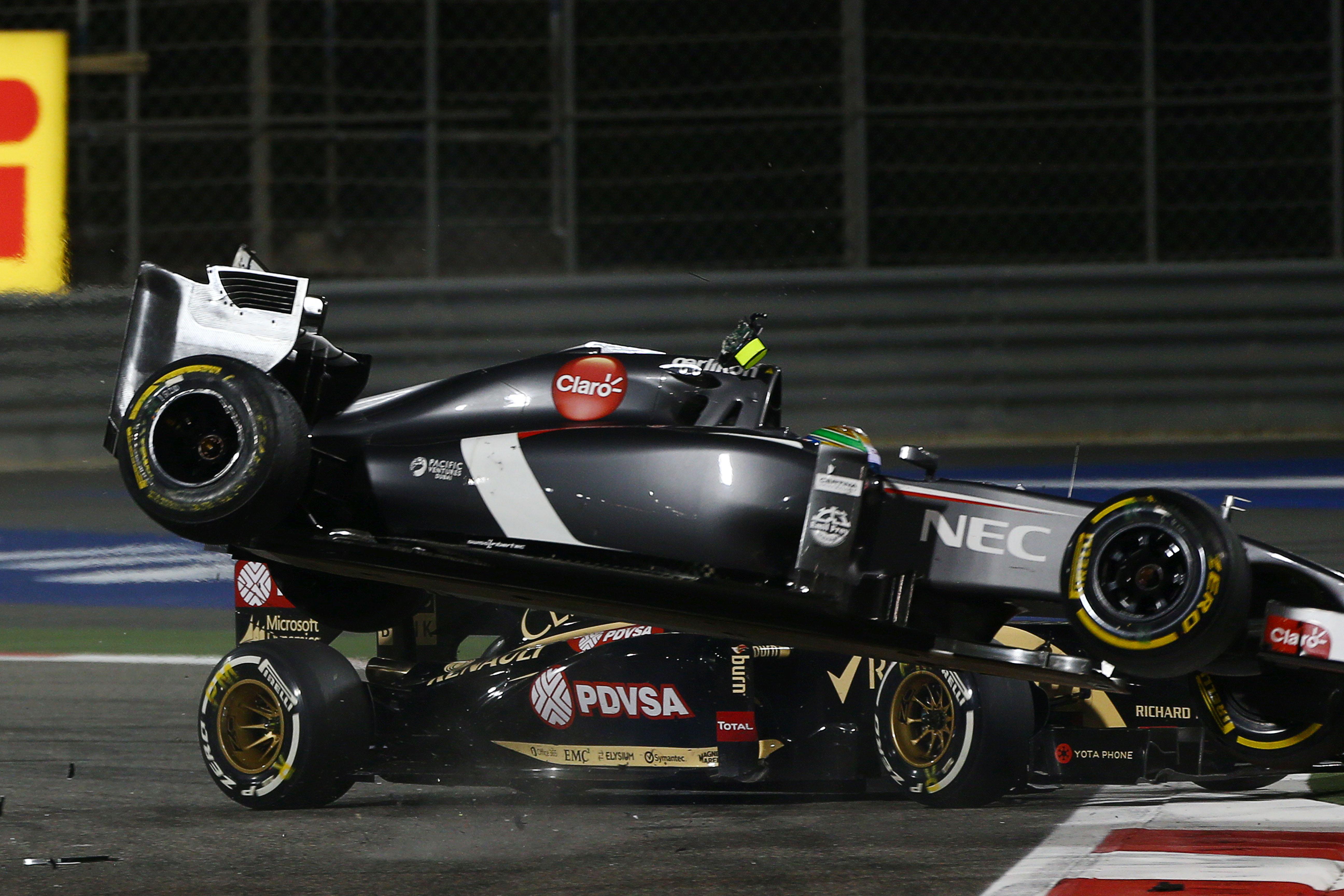 Pastor Maldonado Esteban Gutierrez collision Bahrain Grand Prix 2014