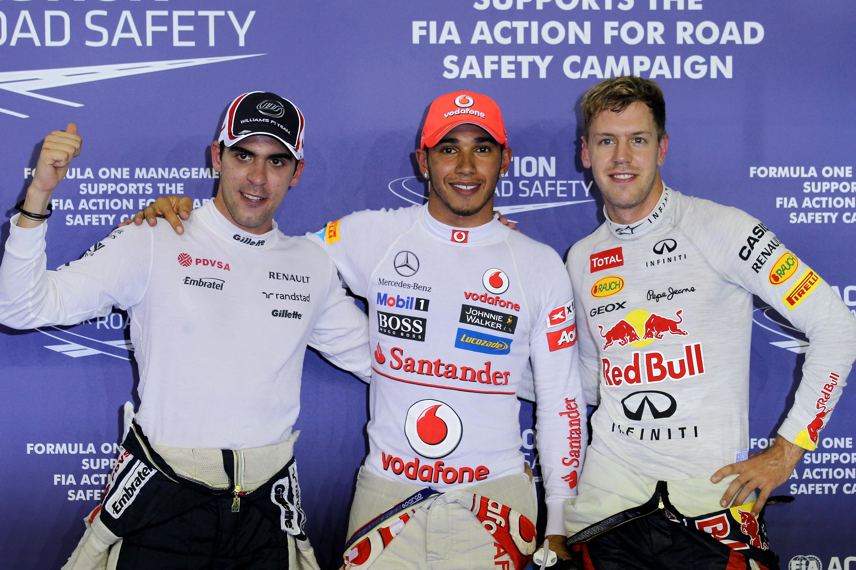Pastor Maldonado Lewis Hamilton Sebastian Vettel Singapore Grand Prix qualifying 2012