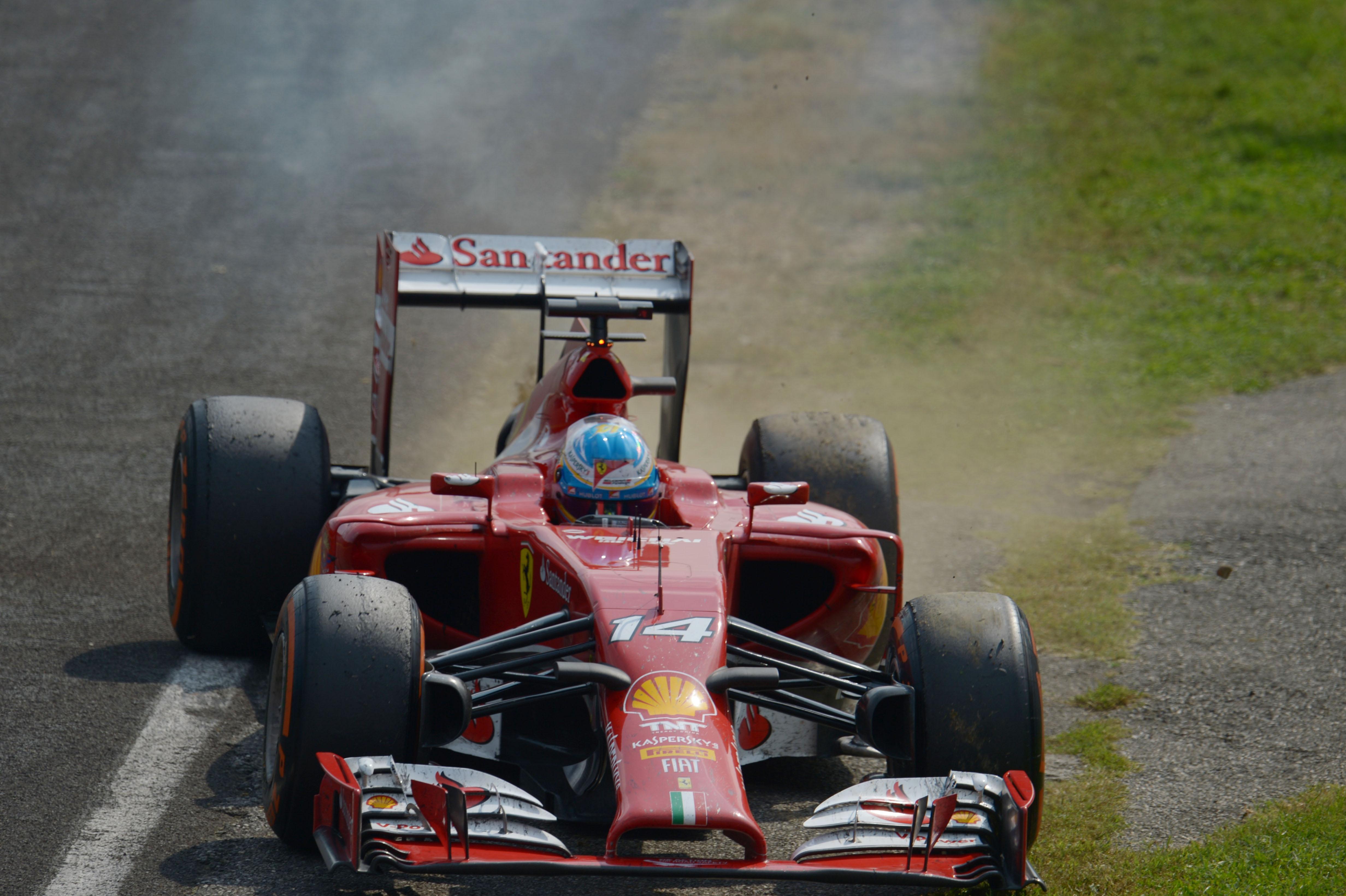 Fernando Alonso Ferrari retires Italian Grand Prix 2014 Monza