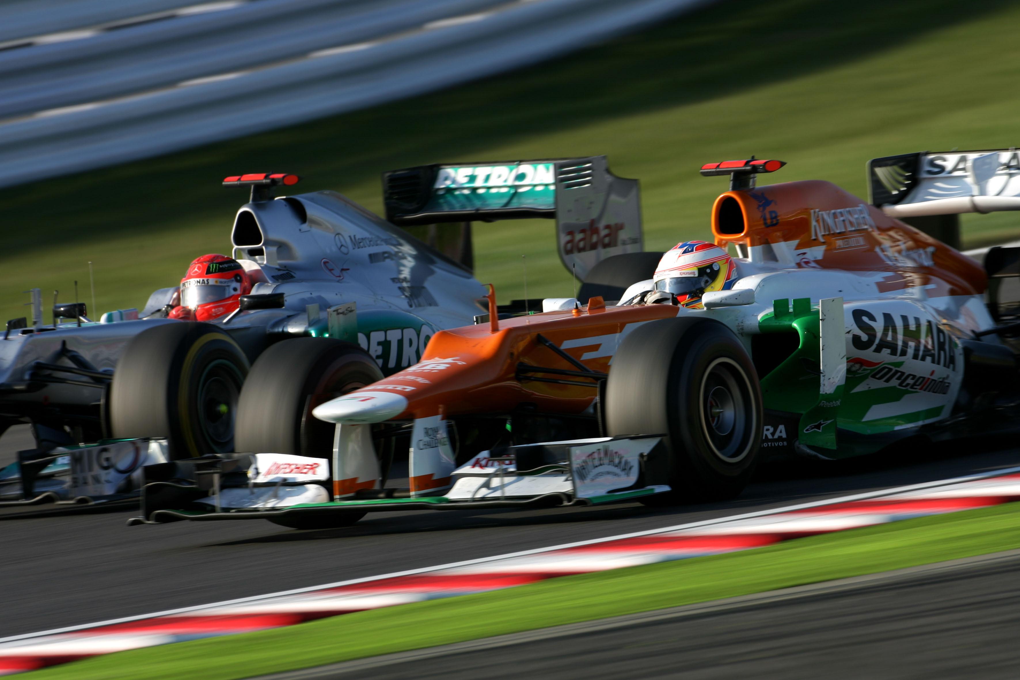 Michael Schumacher Mercedes Paul di Resta Force India Japanese Grand Prix 2012 Suzuka