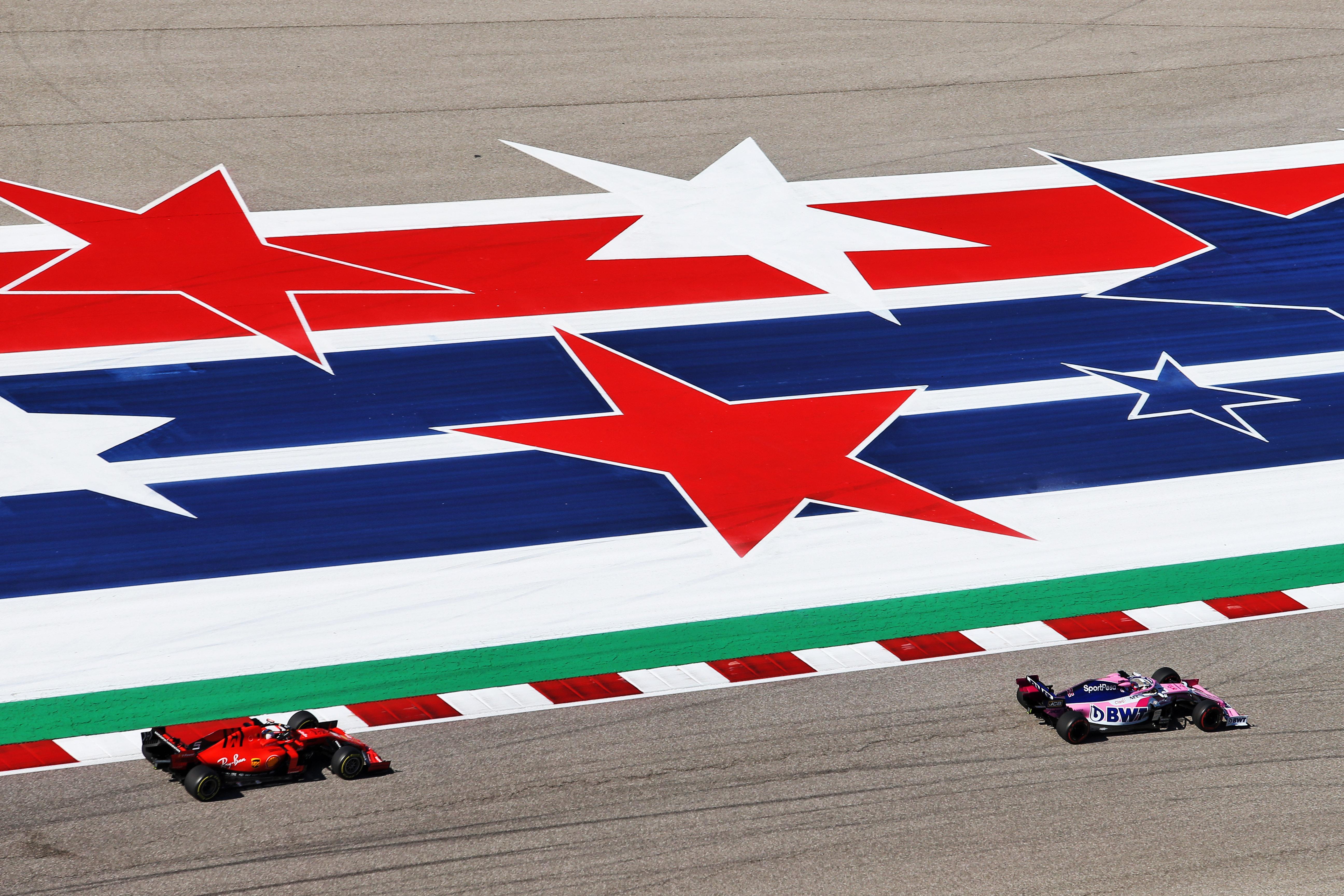 Sergio Perez Racing Point Sebastian Vettel Ferrari United States Grand Prix 2019 Austin