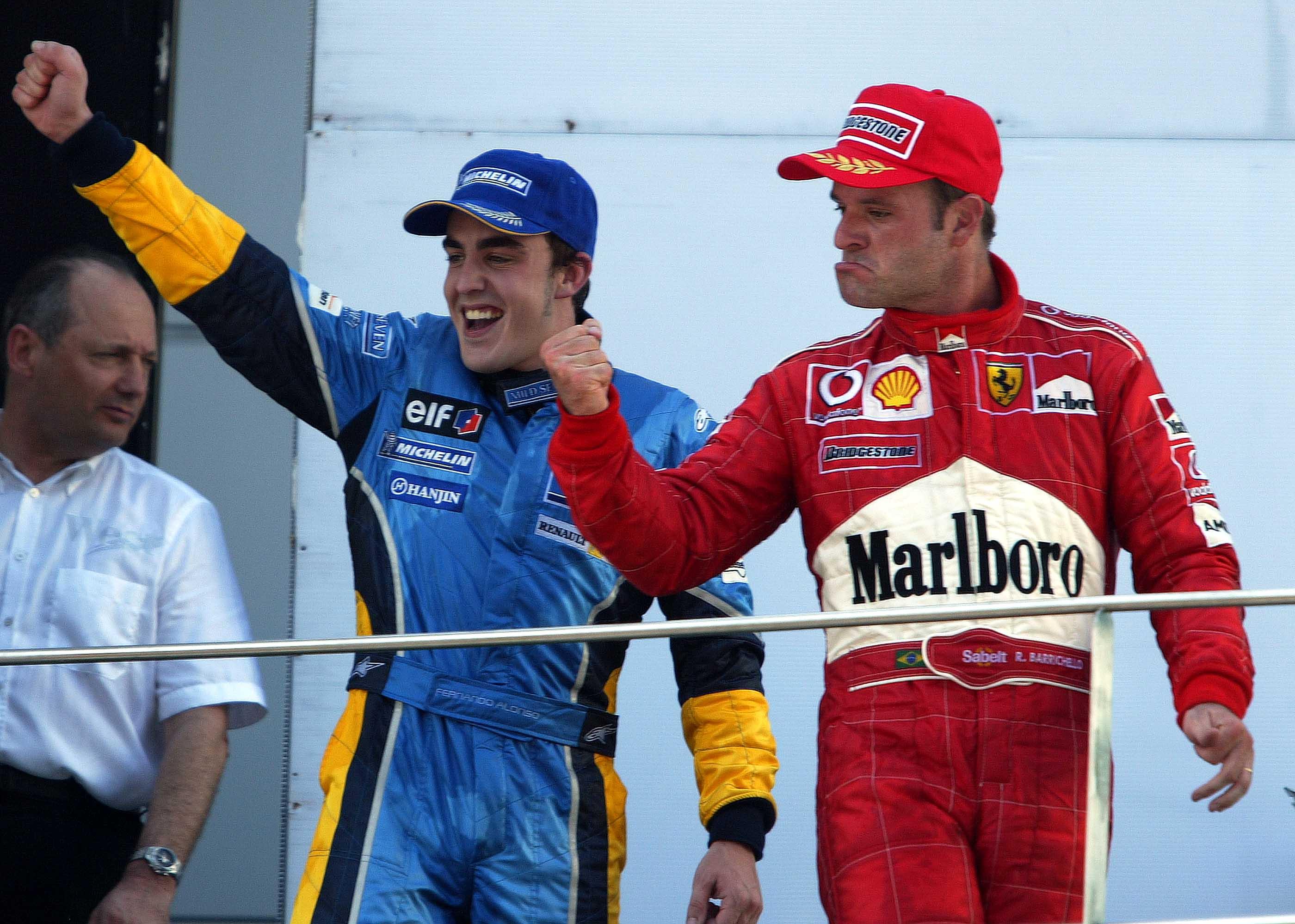 Fernando Alonso Rubens Barrichello Malaysian Grand Prix podium 2003