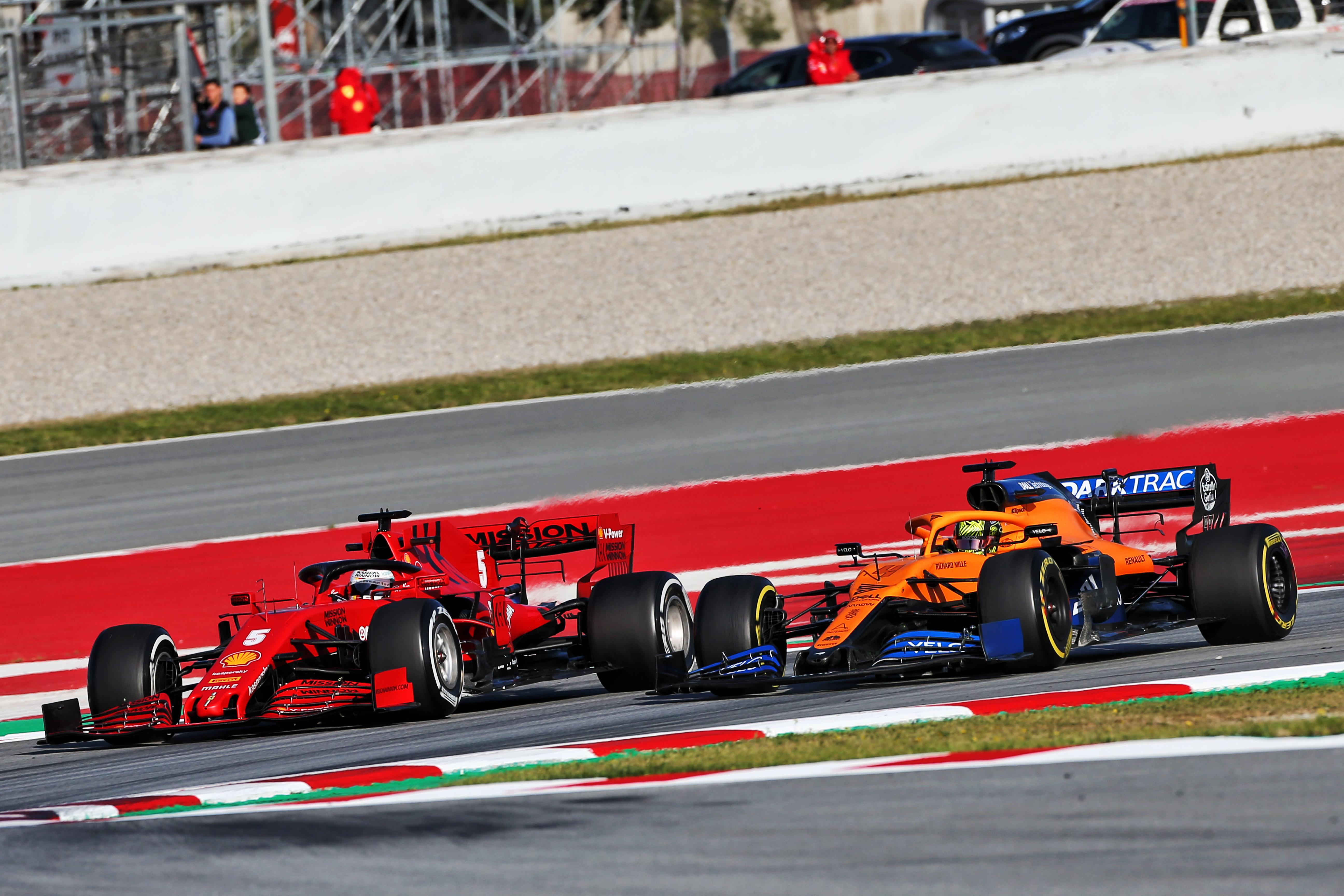 Sebastian Vettel Ferrari Lando Norris McLaren Barcelona F1 testing 2020