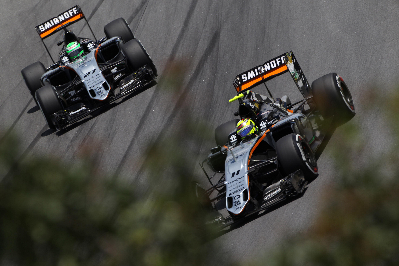 Sergio Perez Nico Hulkenberg Force India Brazilian Grand Prix 2016 Interlagos
