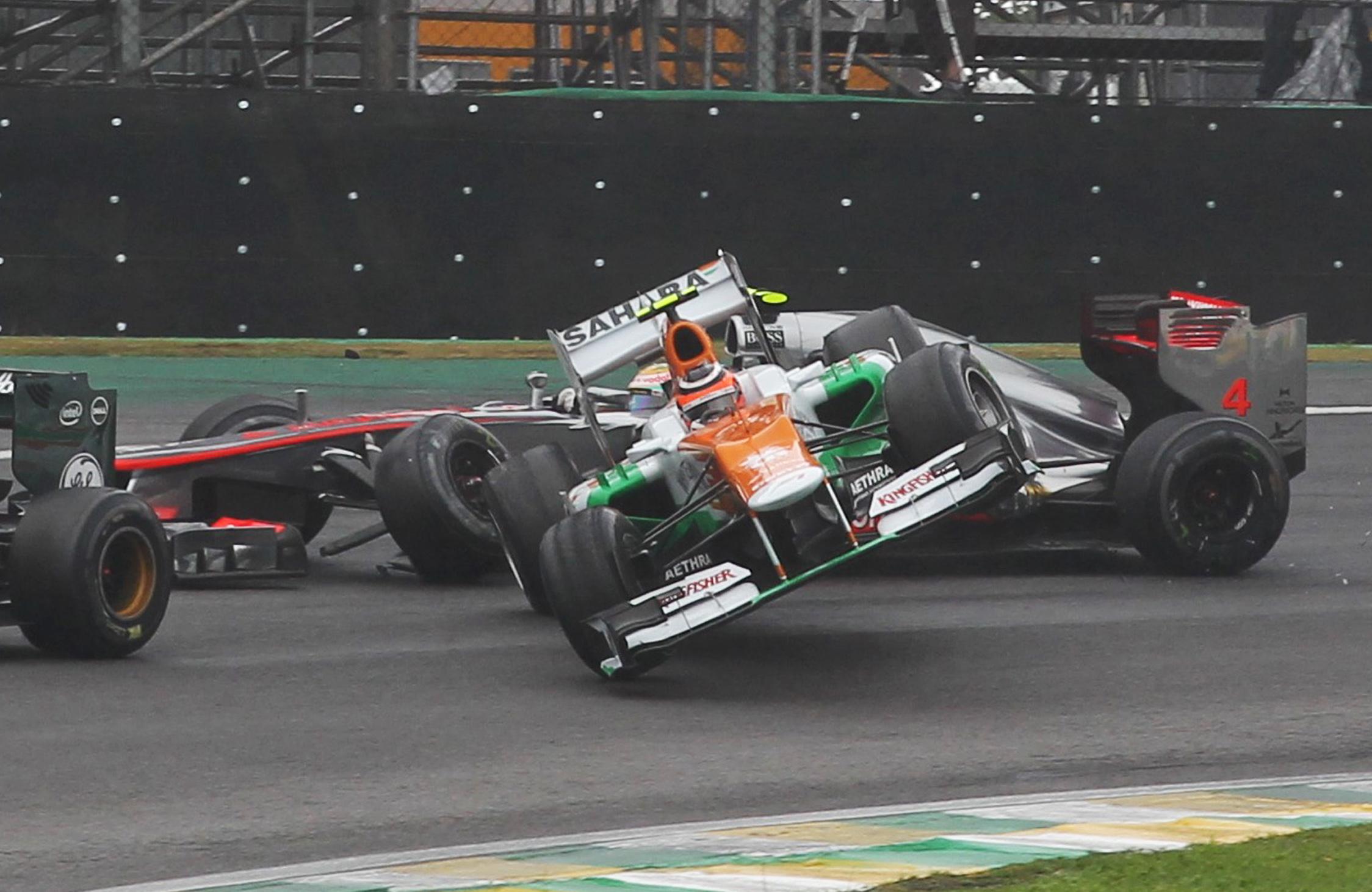 Nico Hulkenberg Lewis Hamilton collision Brazilian Grand Prix 2012 Interlagos