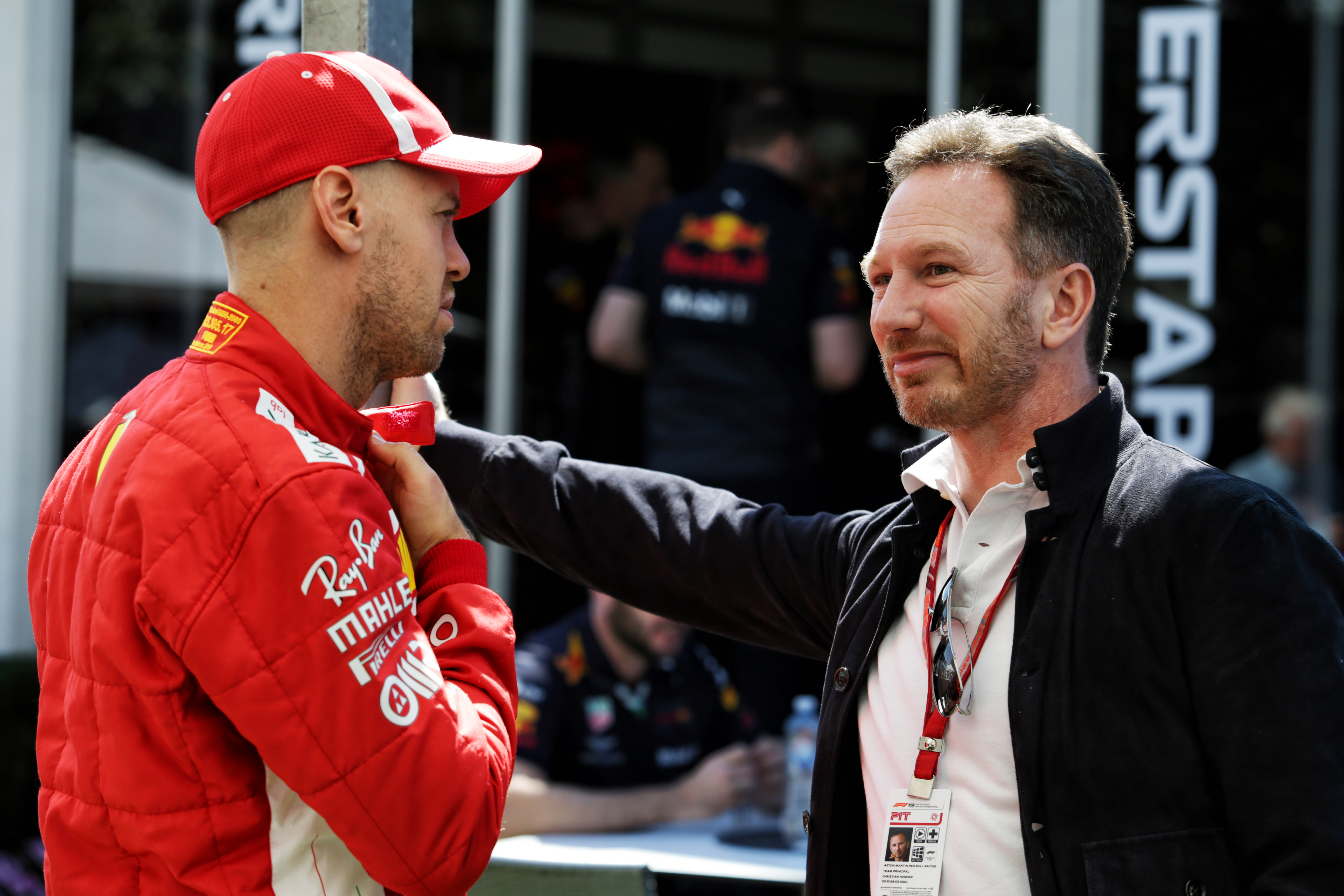 Sebastian Vettel Ferrari Christian Horner Red Bull F1 paddock