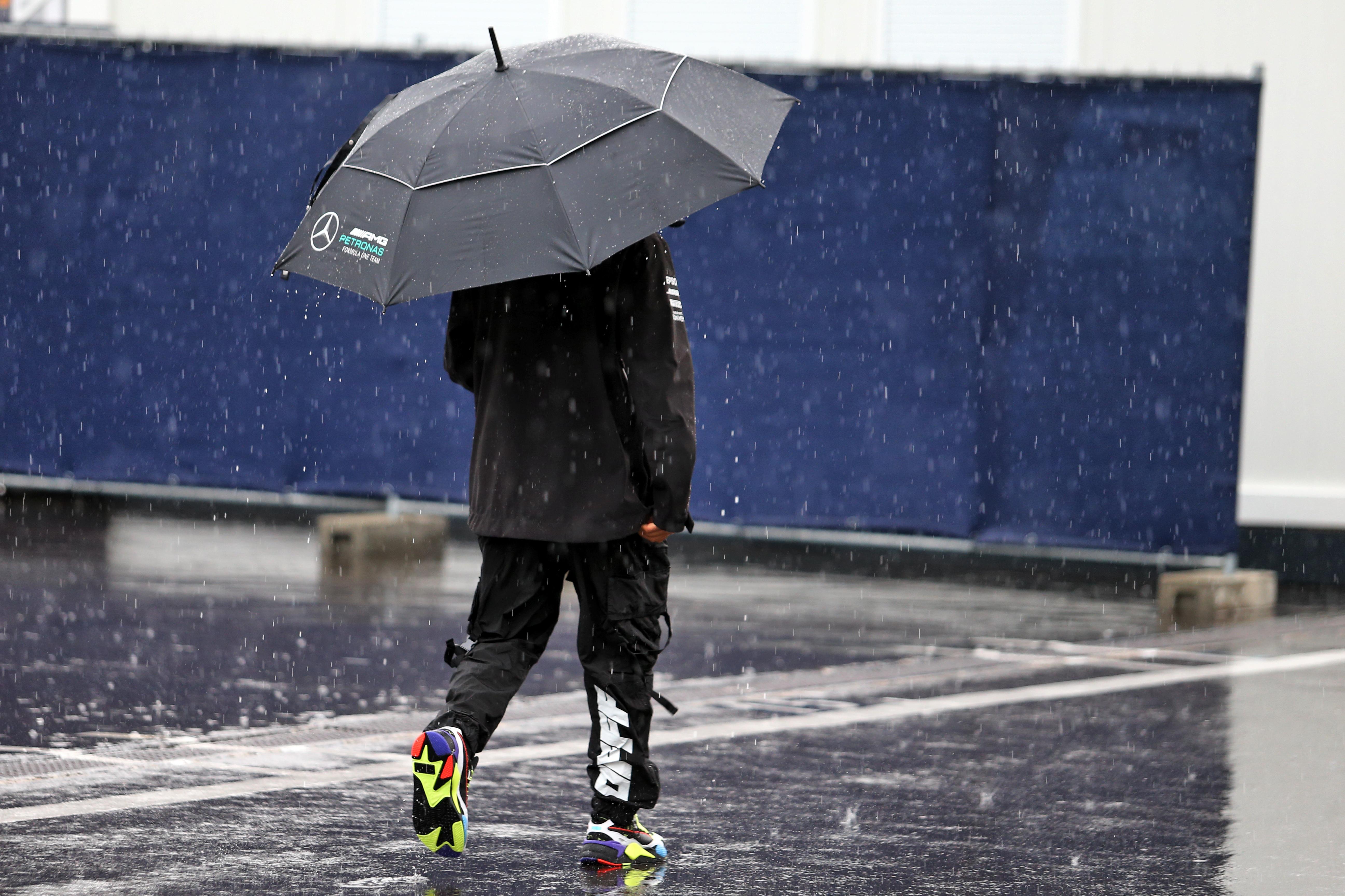 Lewis Hamilton Styrian GP paddock rain 2020