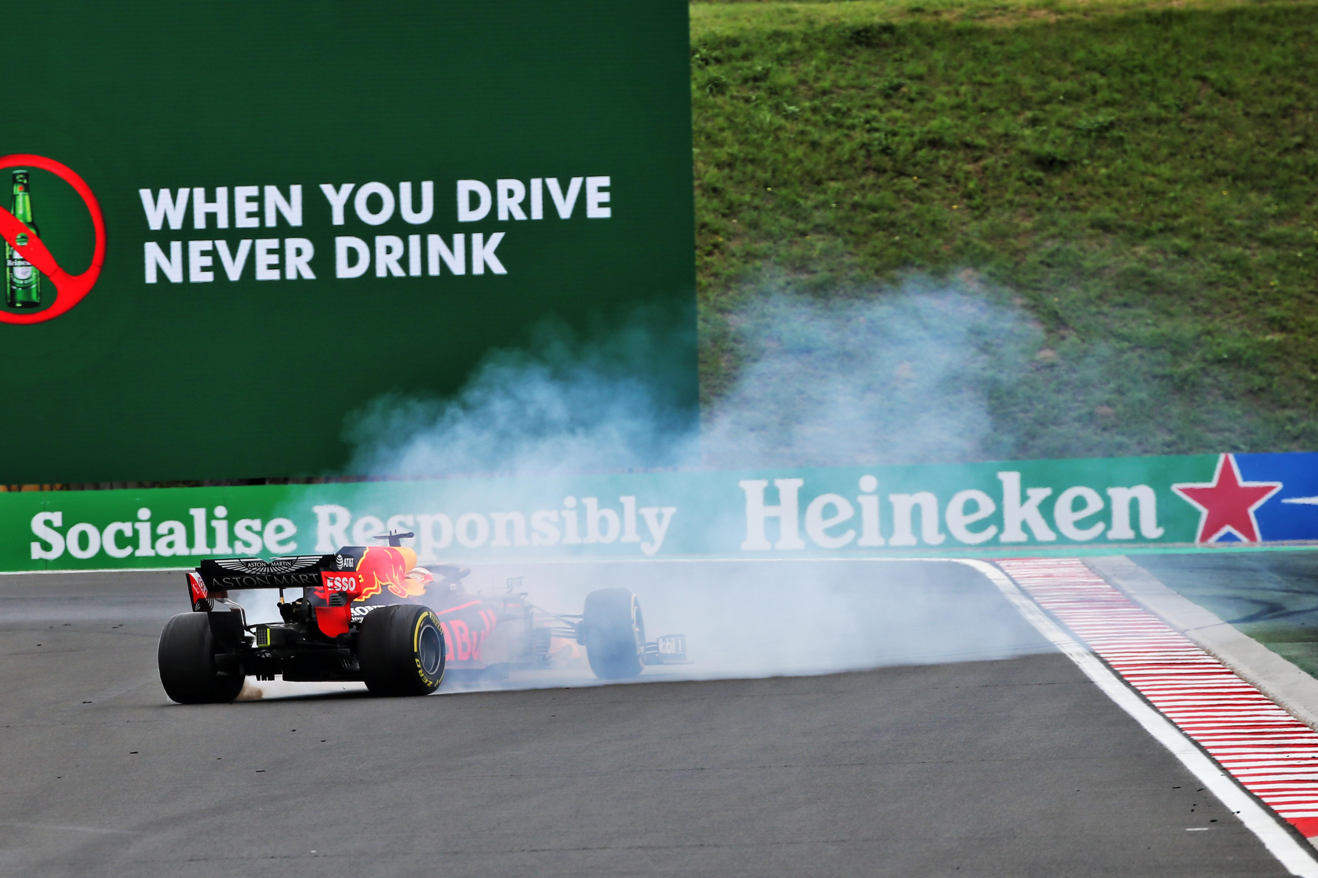 Max Verstappen Red Bull spin Hungarian Grand prix 2020