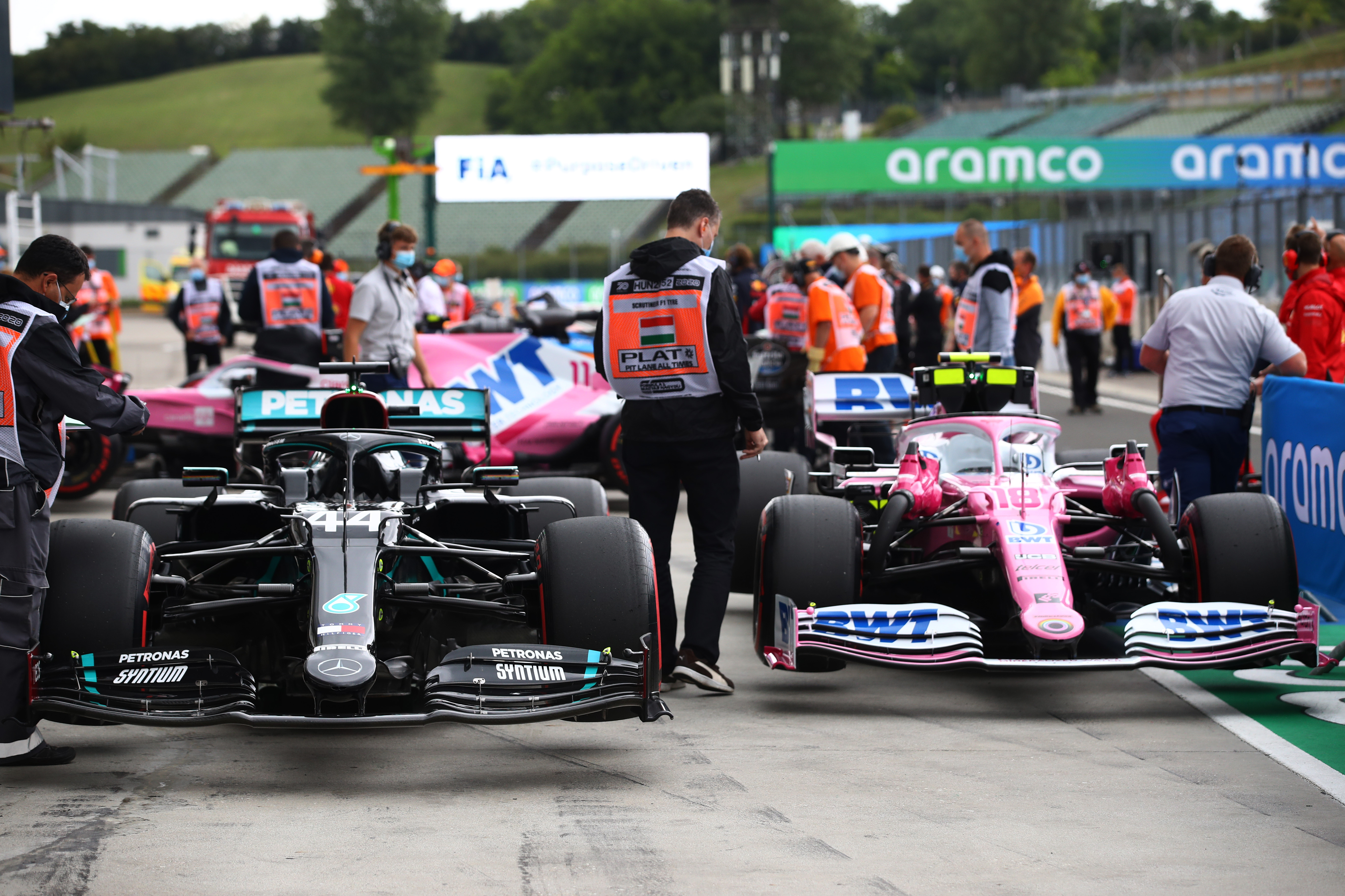 Mercedes Racing Point Hungarian Grand Prix parc ferme 2020