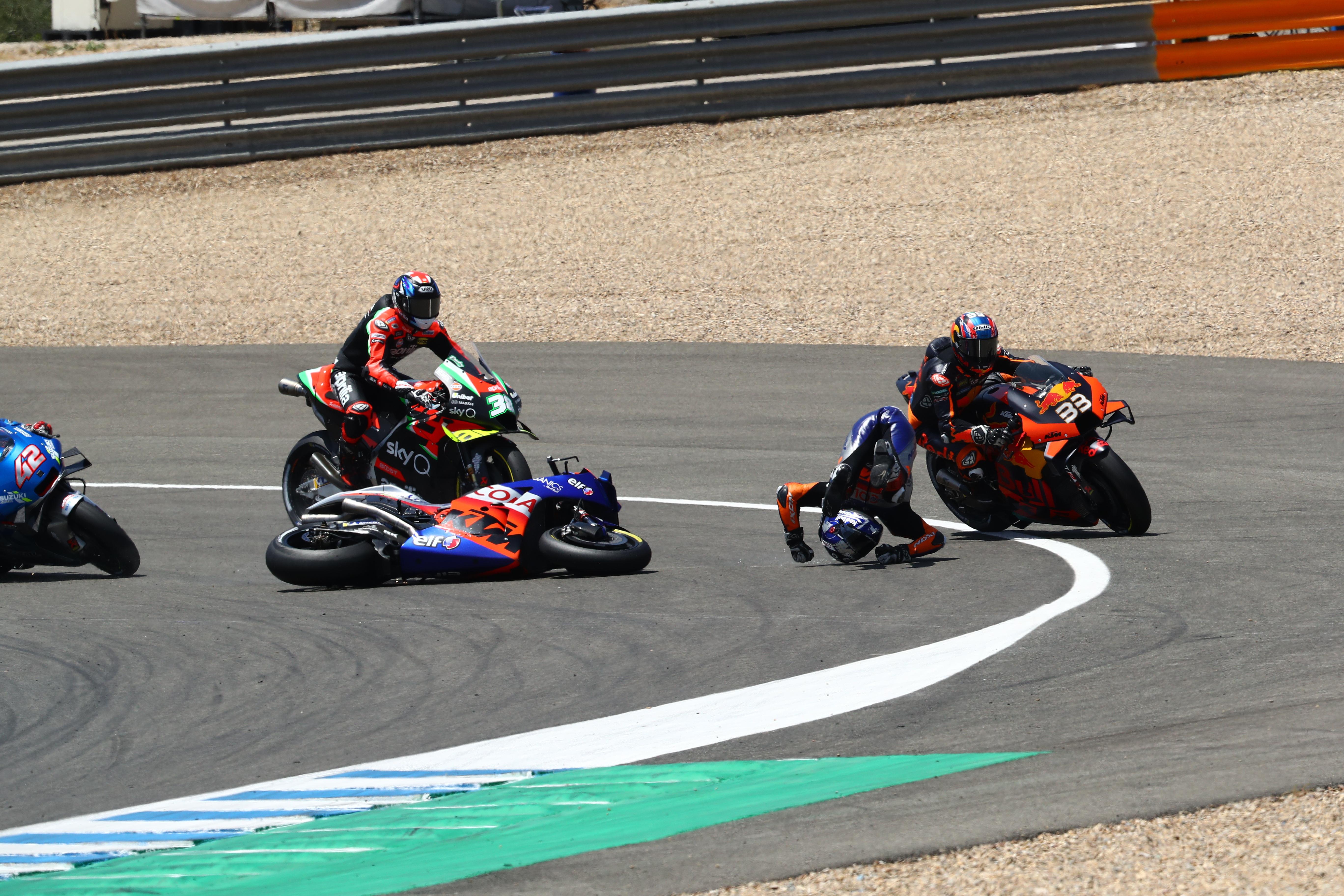 Brad Binder Miguel Oliveira crash Jerez MotoGP 2020