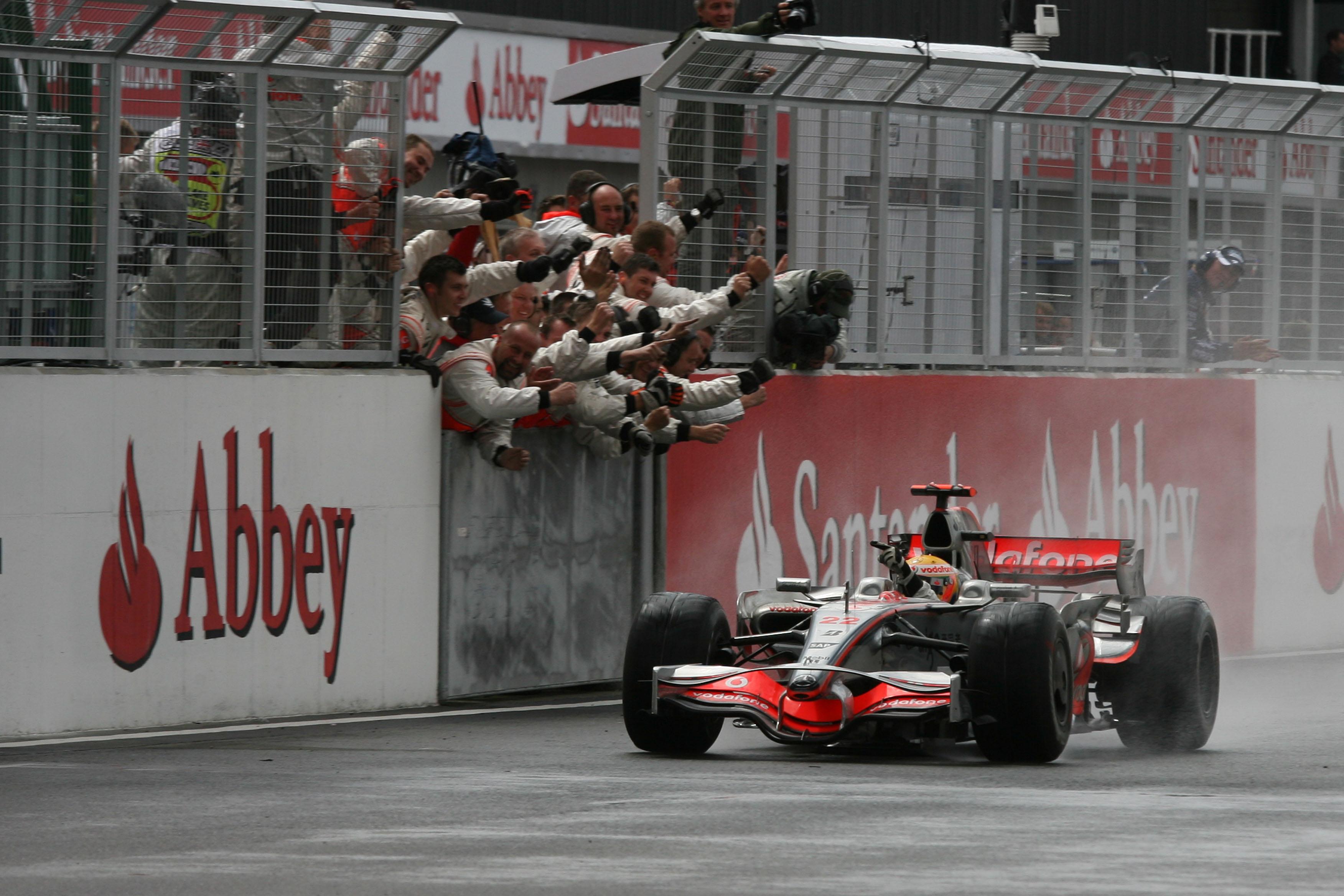 Lewis Hamilton McLaren wins British Grand Prix 2008 Silverstone