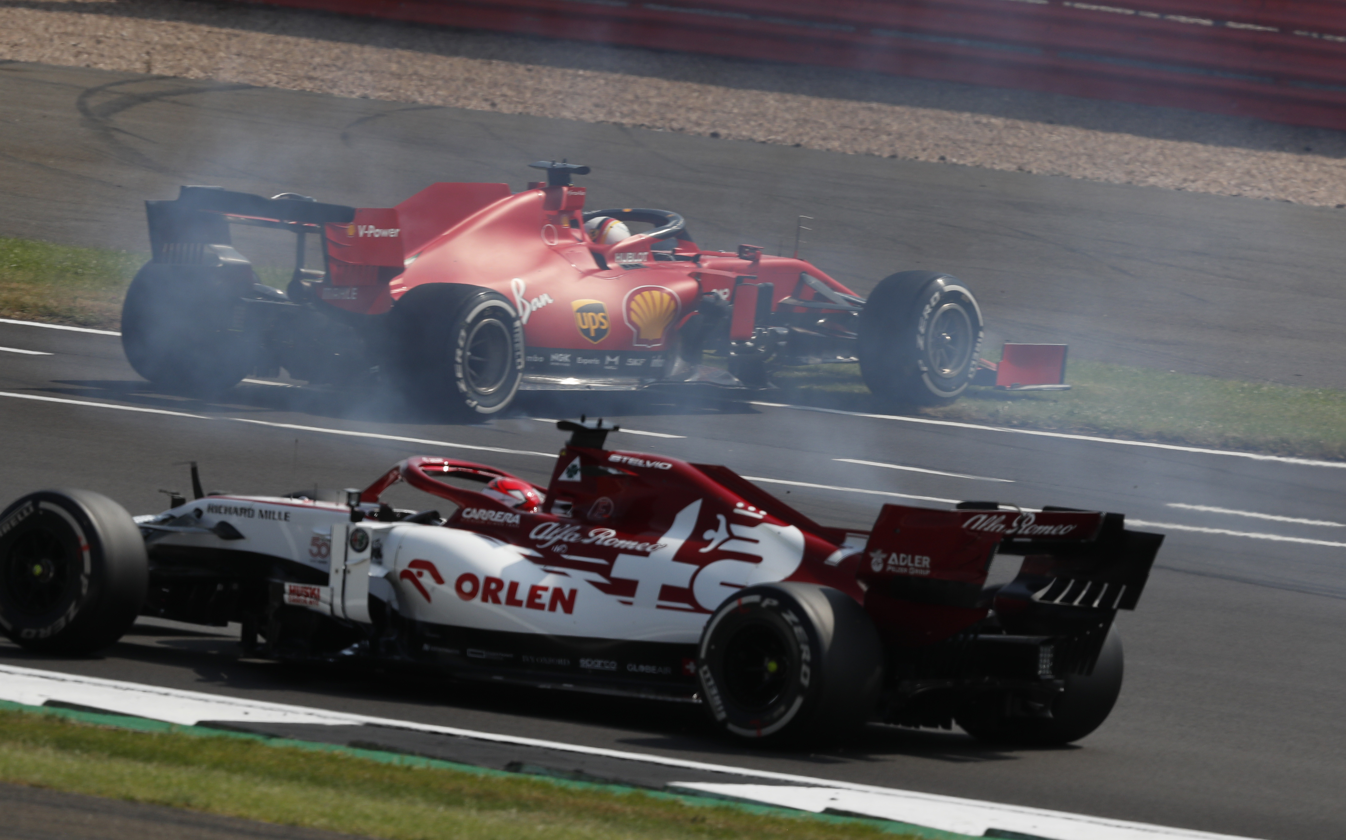 Sebastian Vettel Ferrari spin 70th Anniversary Grand Prix Silverstone 2020