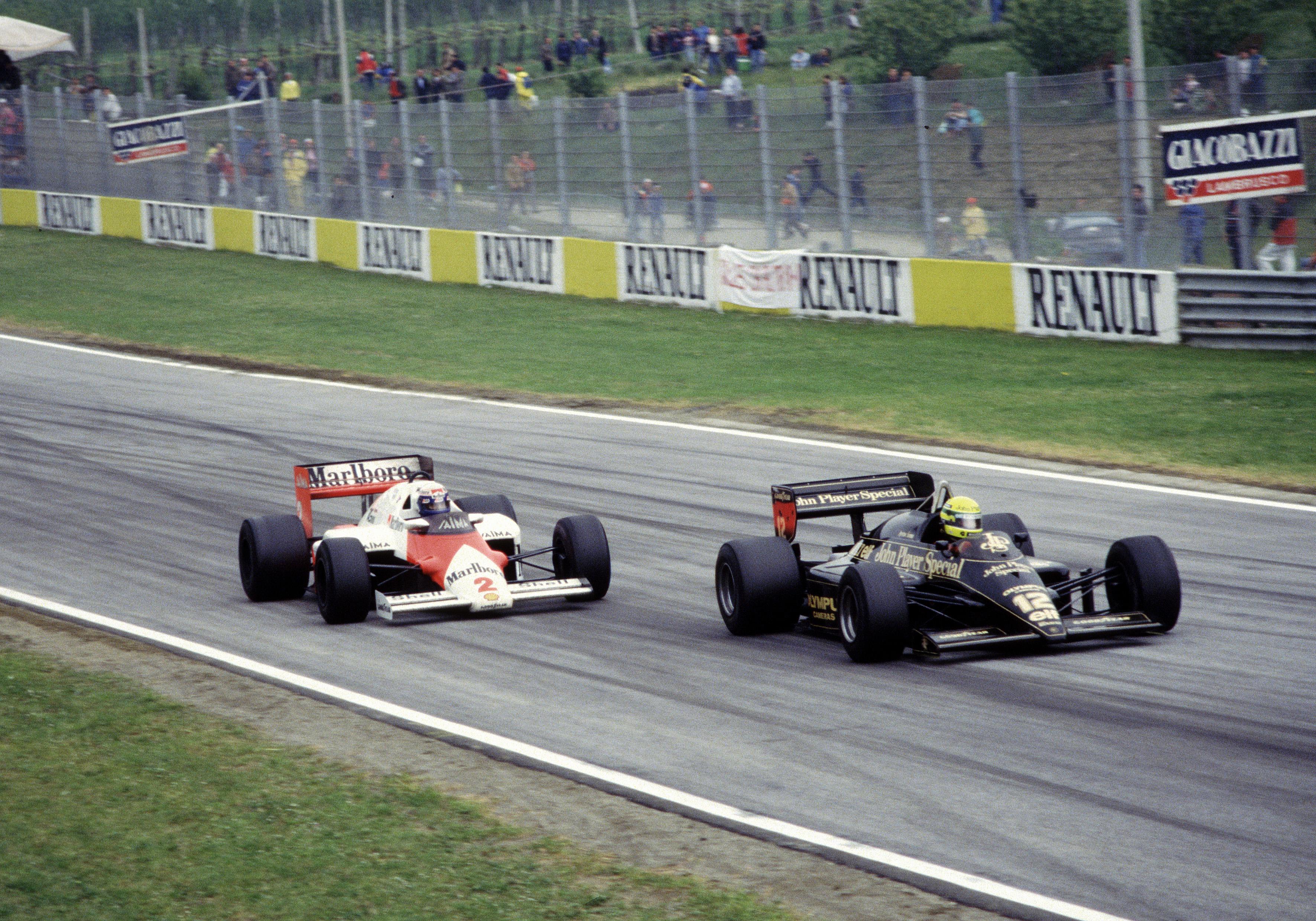 Ayrton Senna Lotus Alain Prost McLaren Imola 1985