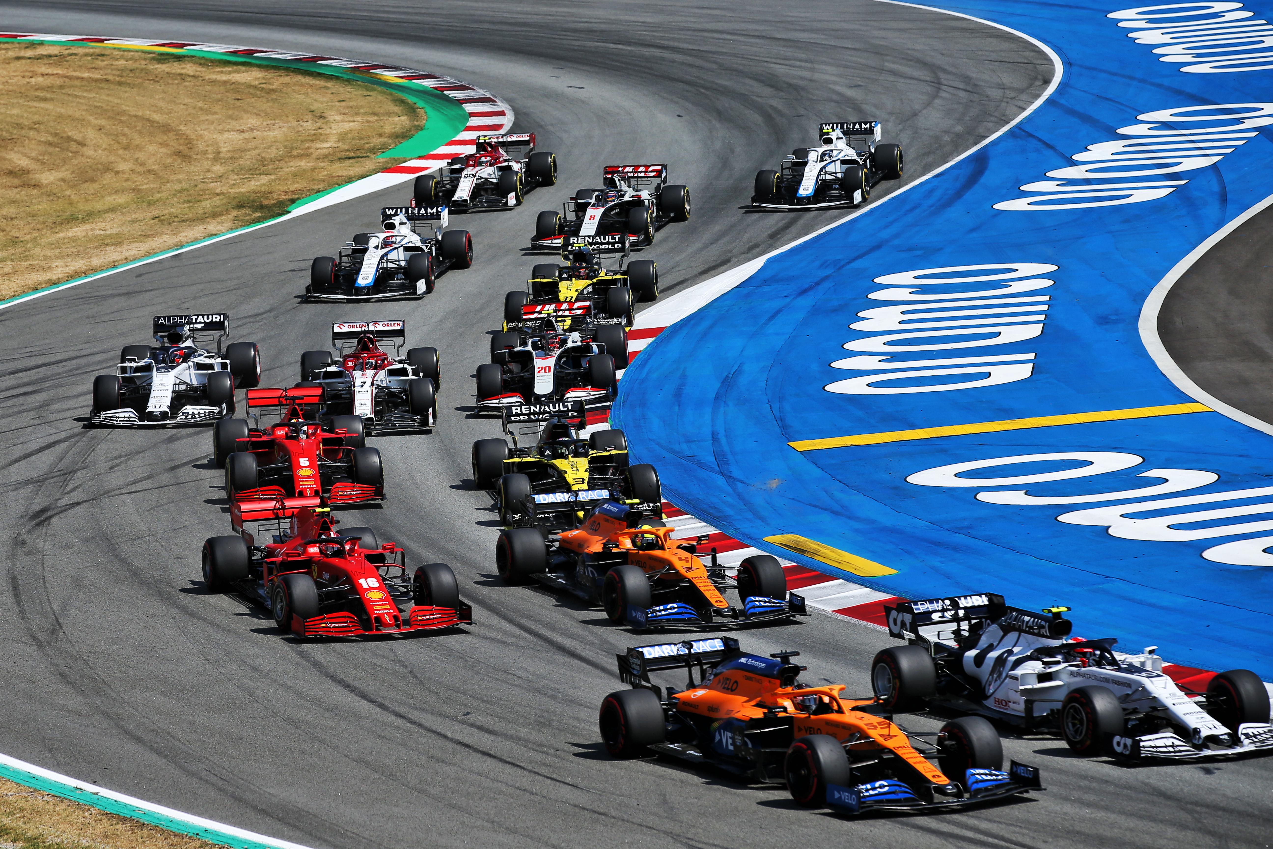 F1 start 2020 Spanish Grand Prix McLaren Ferrari Renault AlphaTauri Haas Williams
