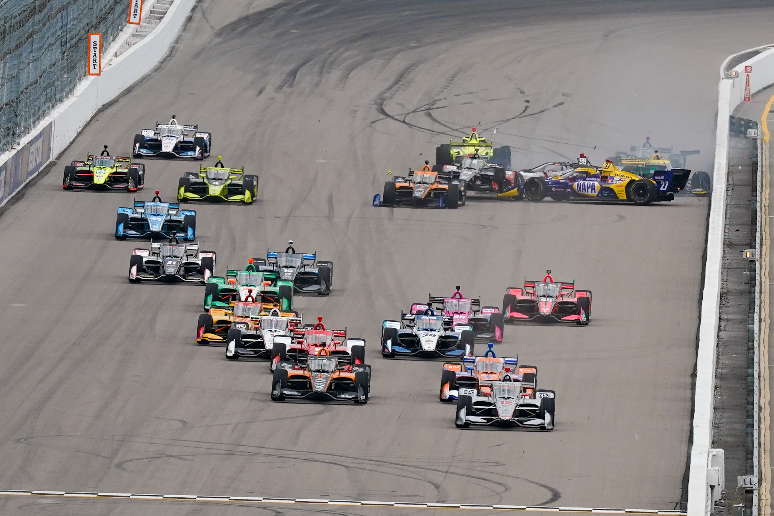 Indycar Gateway Start Crash