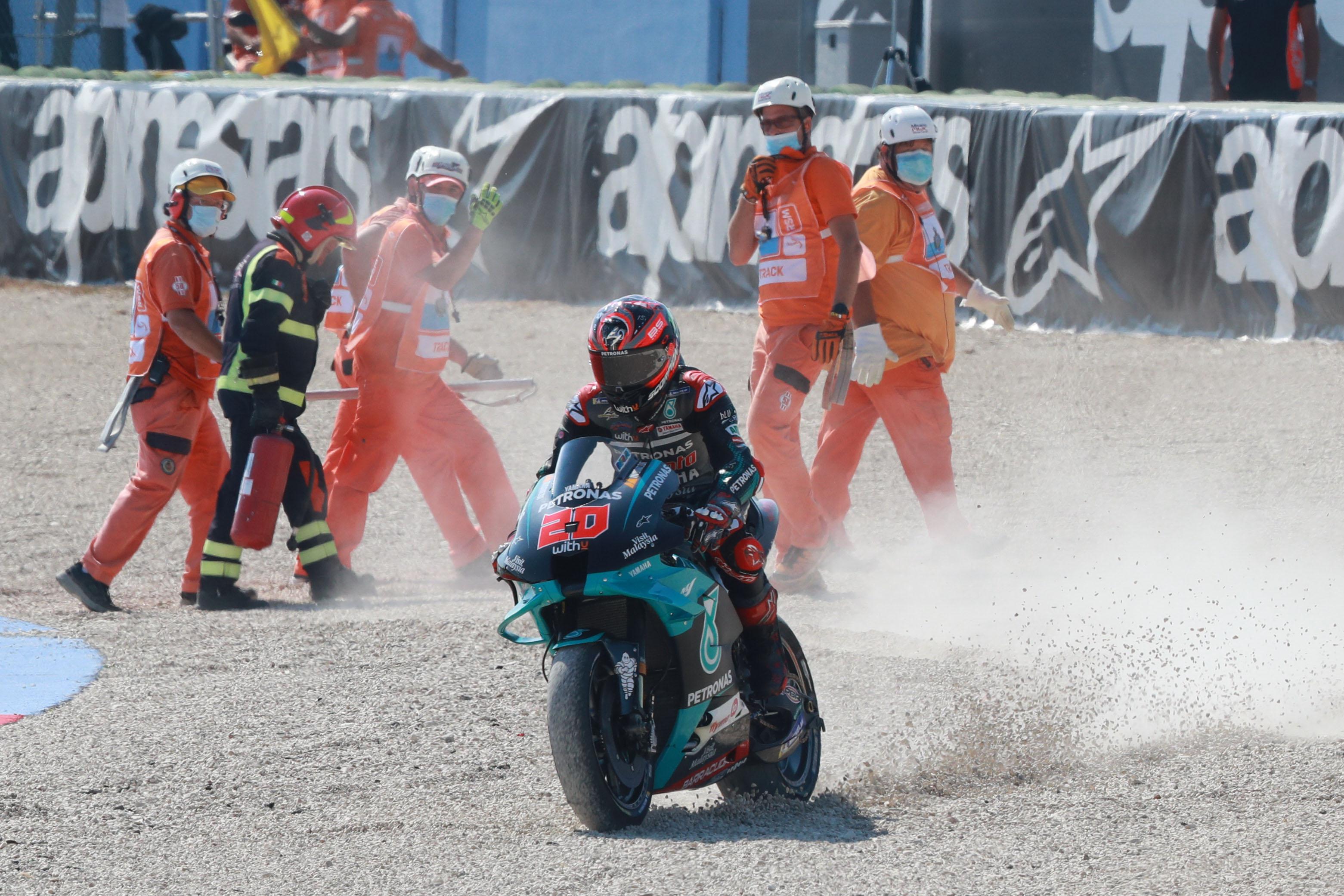 Fabio Quartararo crash Misano MotoGP 2020