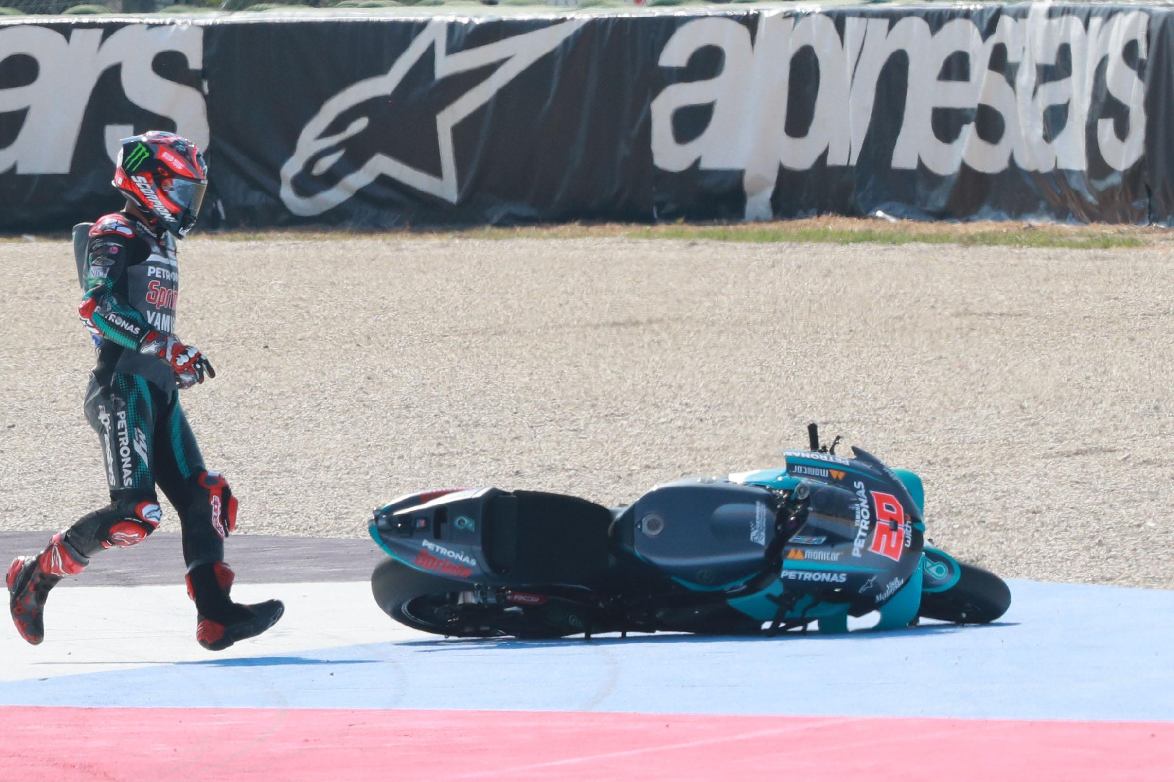 Fabio Quartararo after crash, MotoGP race, San Marino MotoGP, 13 September 2020