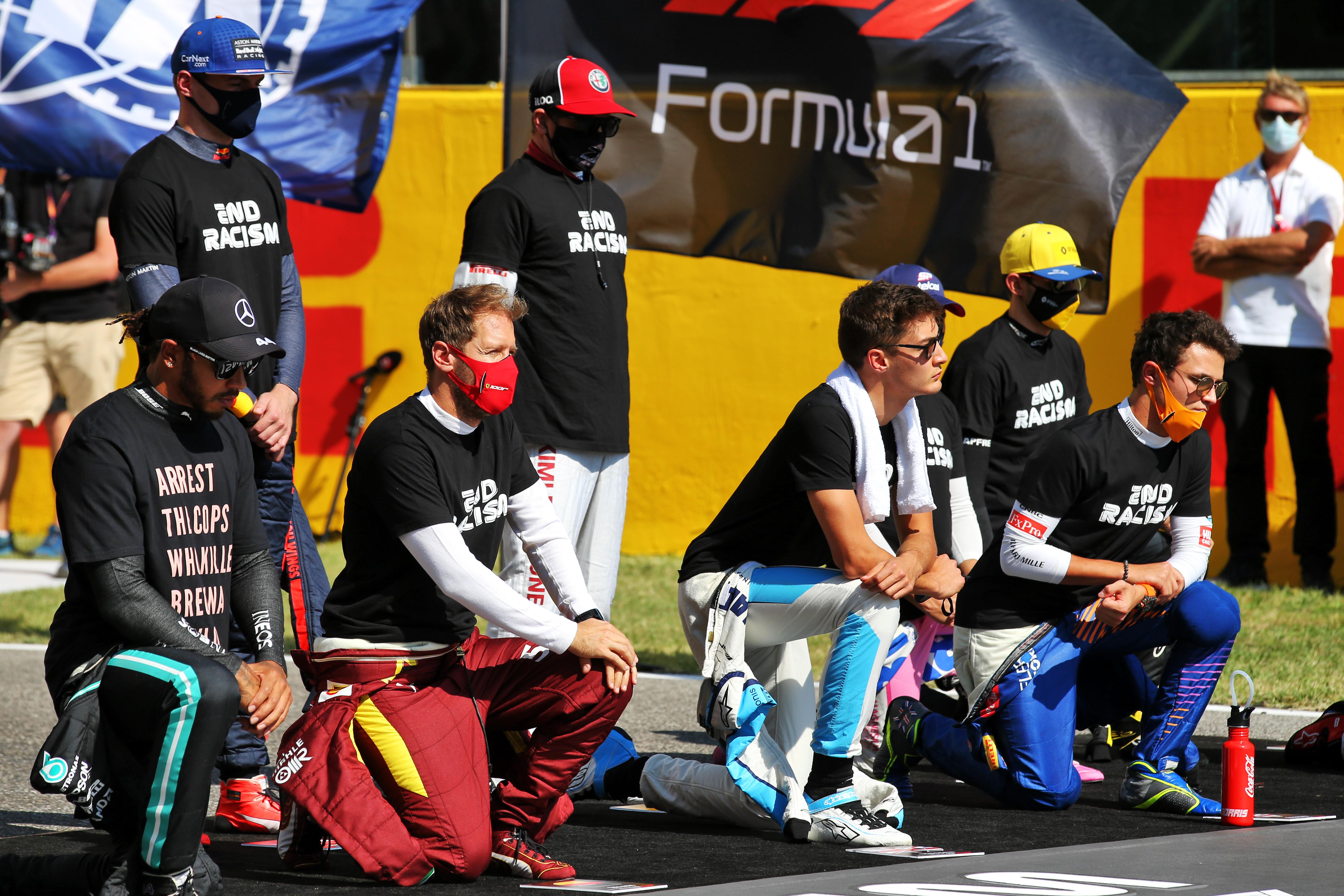 Lewis Hamilton Mugello F1 anti-racism stand