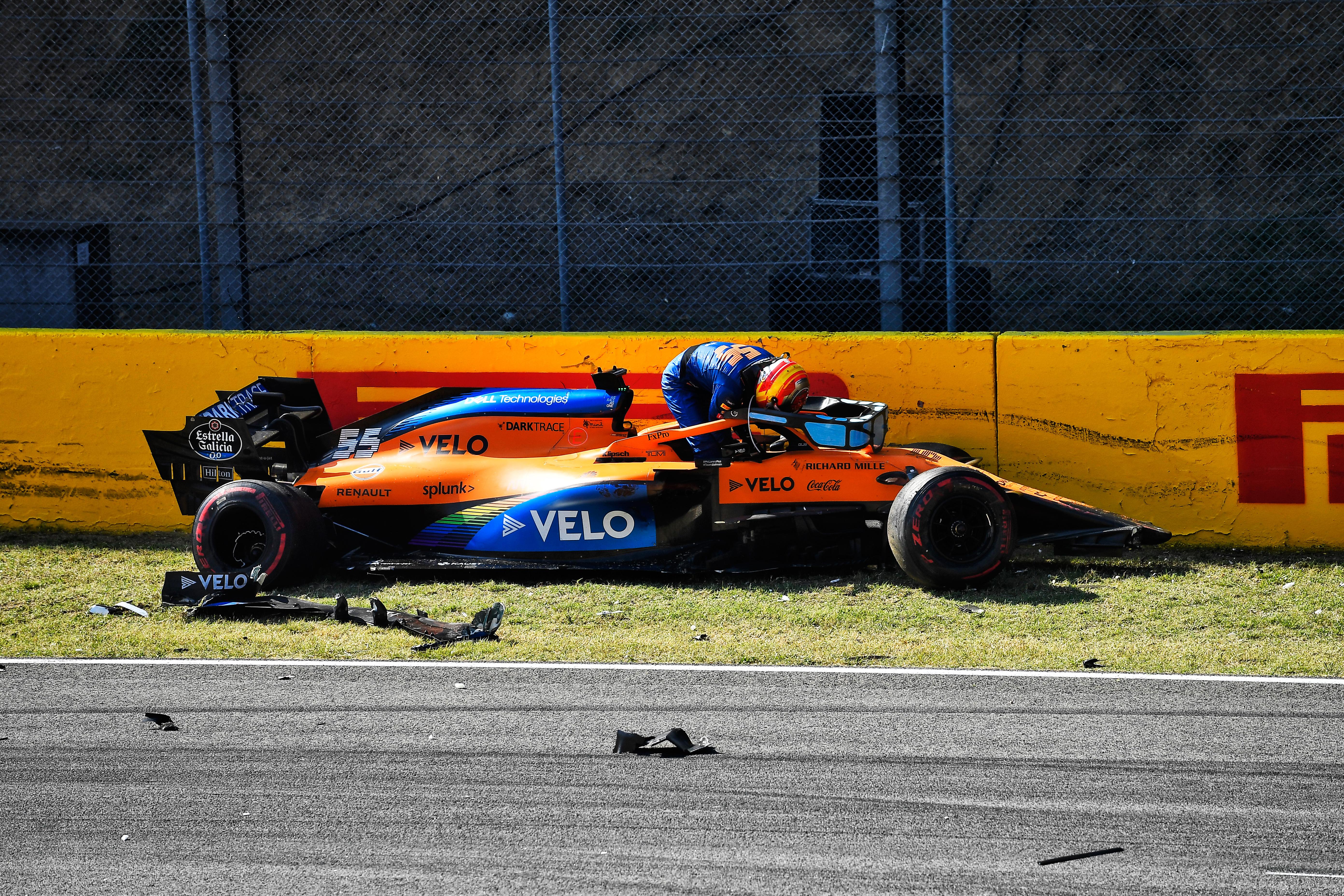 Carlos Sainz Jr McLaren damage Mugello crash 2020