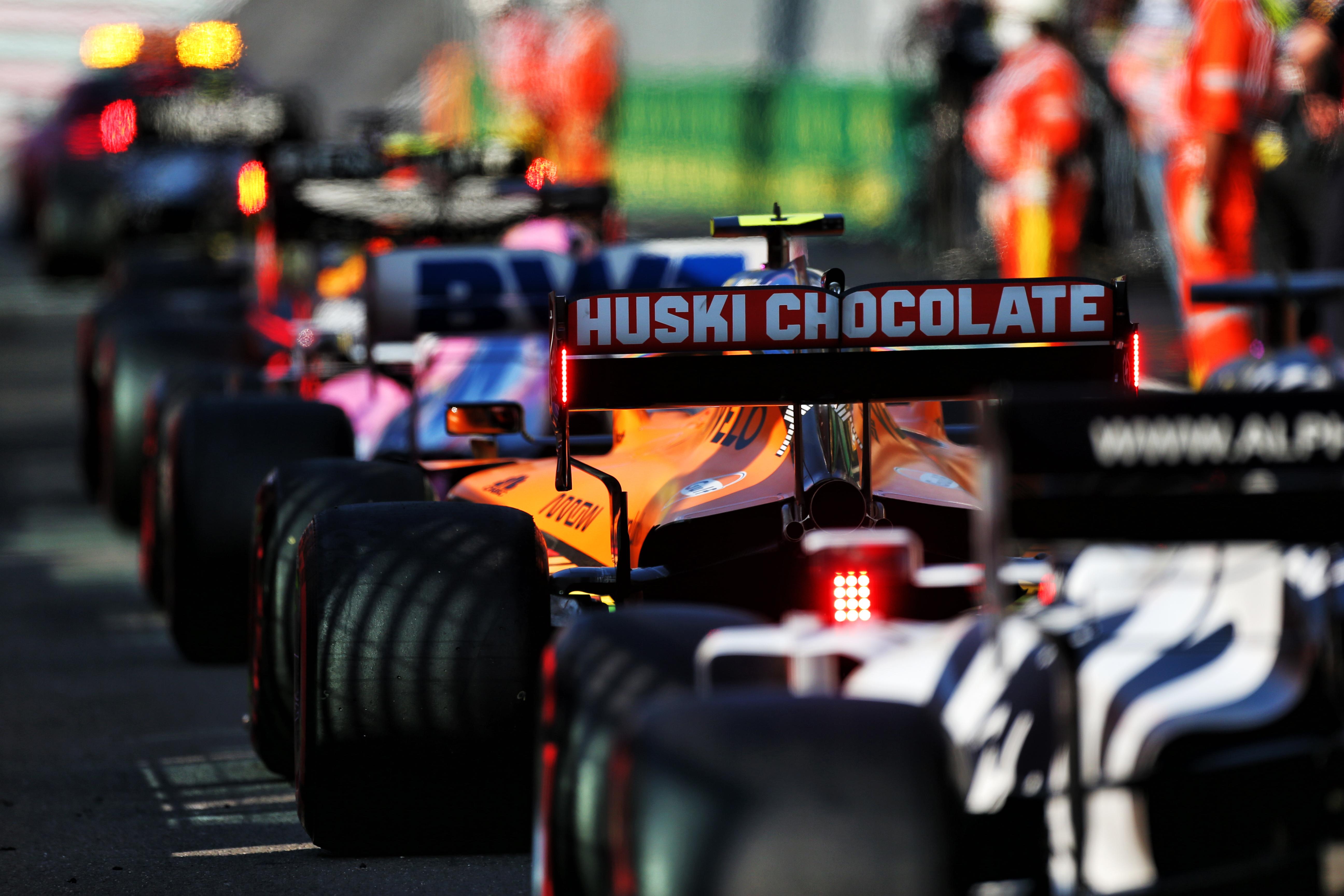 Red Bull Racing Point McLaren AlphaTauri F1 cars in the pitlane 2020 Mugello red flag