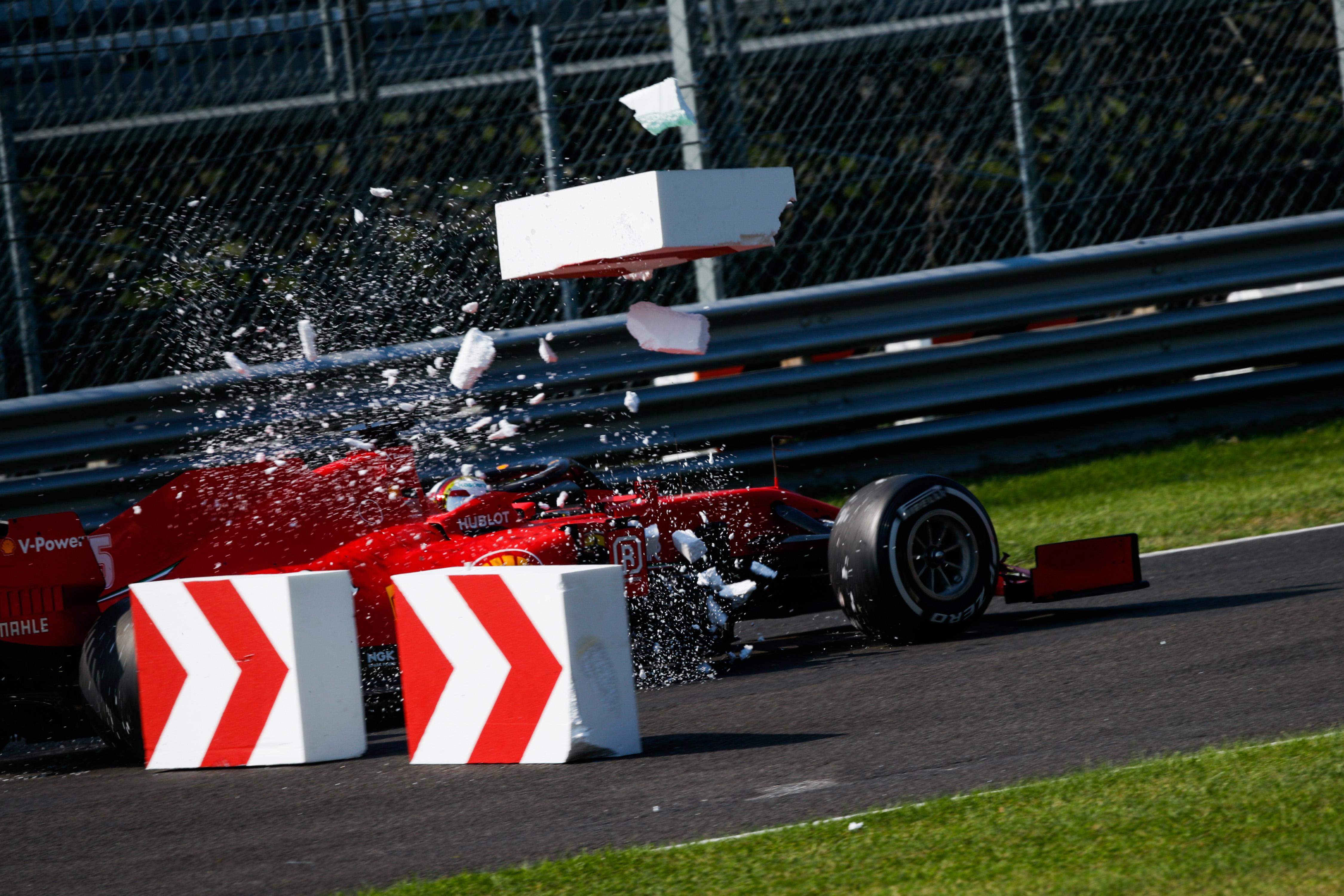 Sebastian Vettel Ferrari crash Italian Grand Prix 2020 Monza