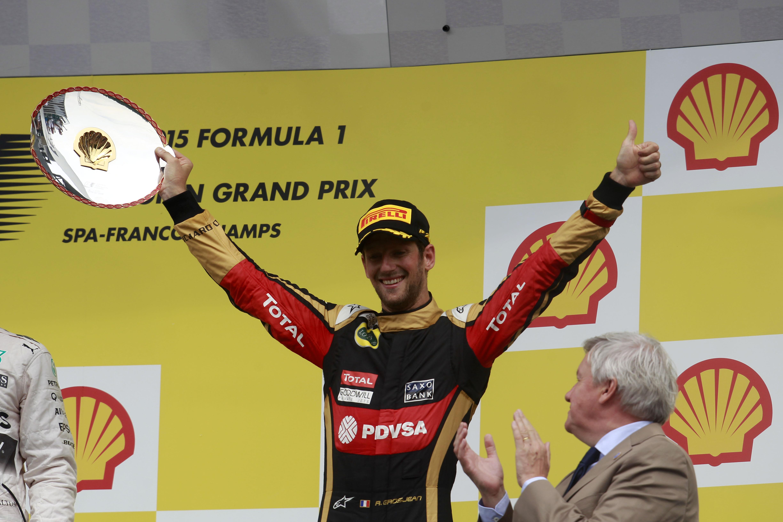 Romain Grosjean Lotus F1 podium 2015 Belgian Grand Prix