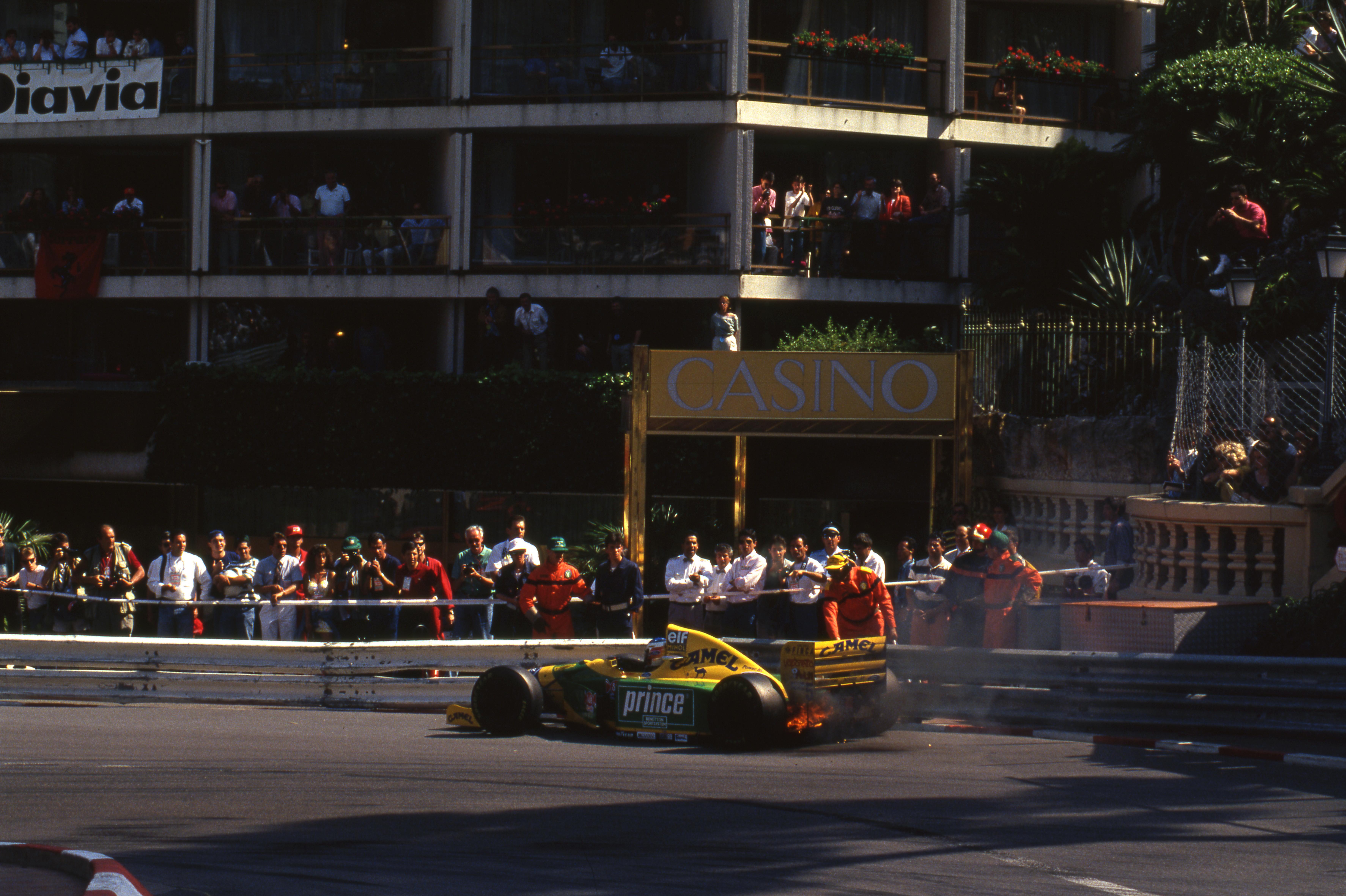 Michael Schumacher retires from 1993 Monaco GP Benetton F1