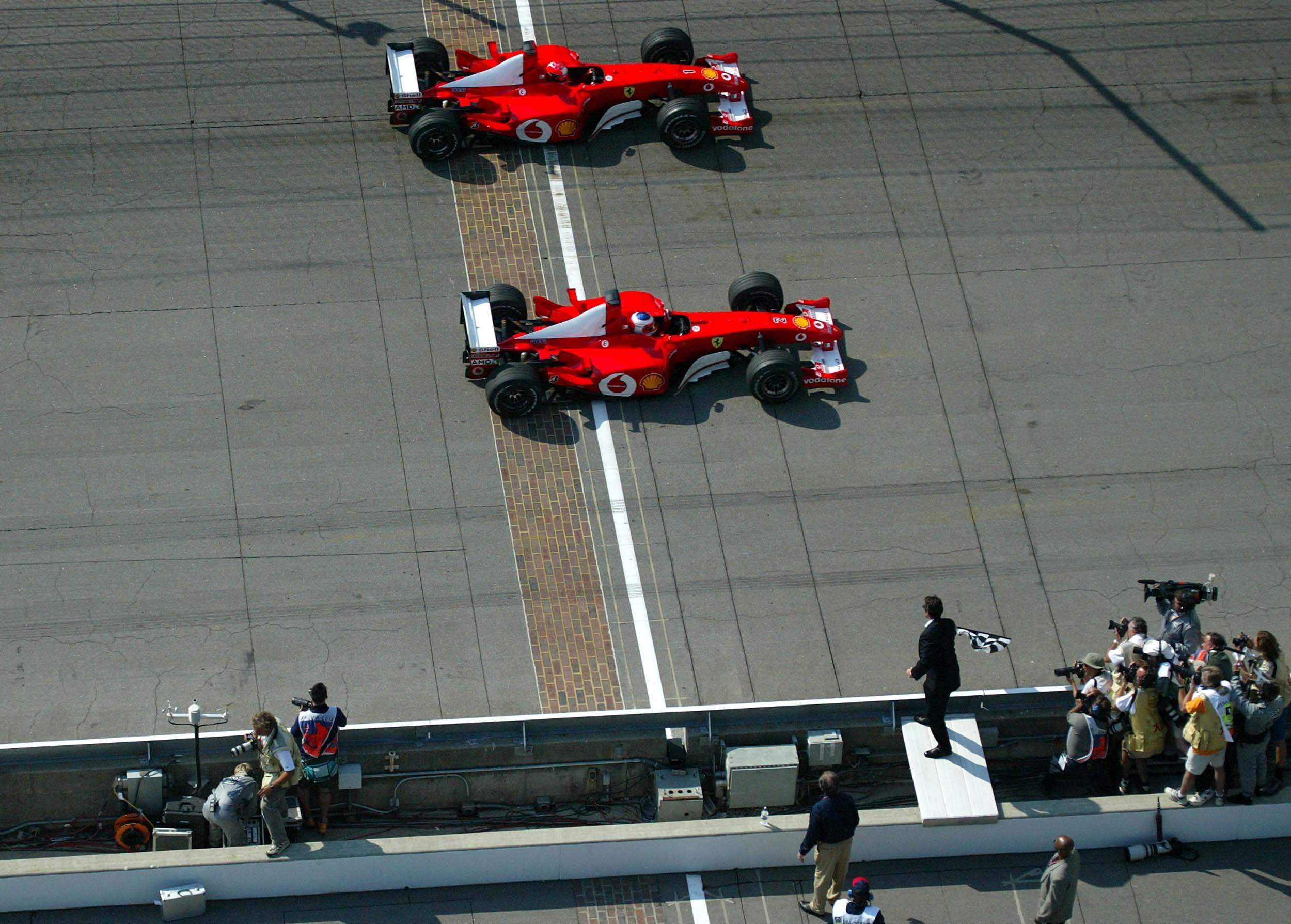 2002 US GP finish Indianapolis F1 Michael Schumacher Rubens Barrichello Ferrari