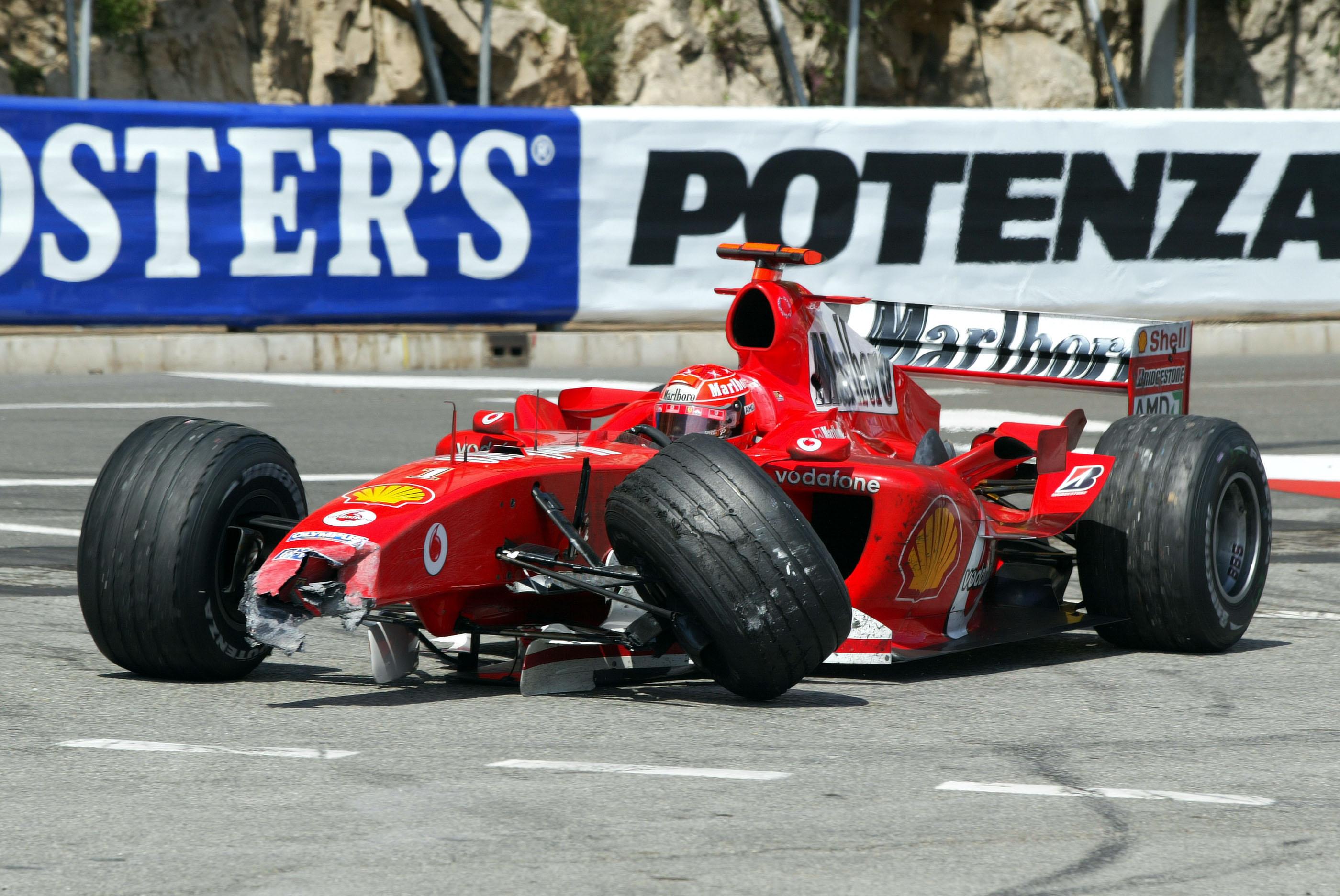 Michael Schumacher Monaco crash damage Ferrari F1 2004