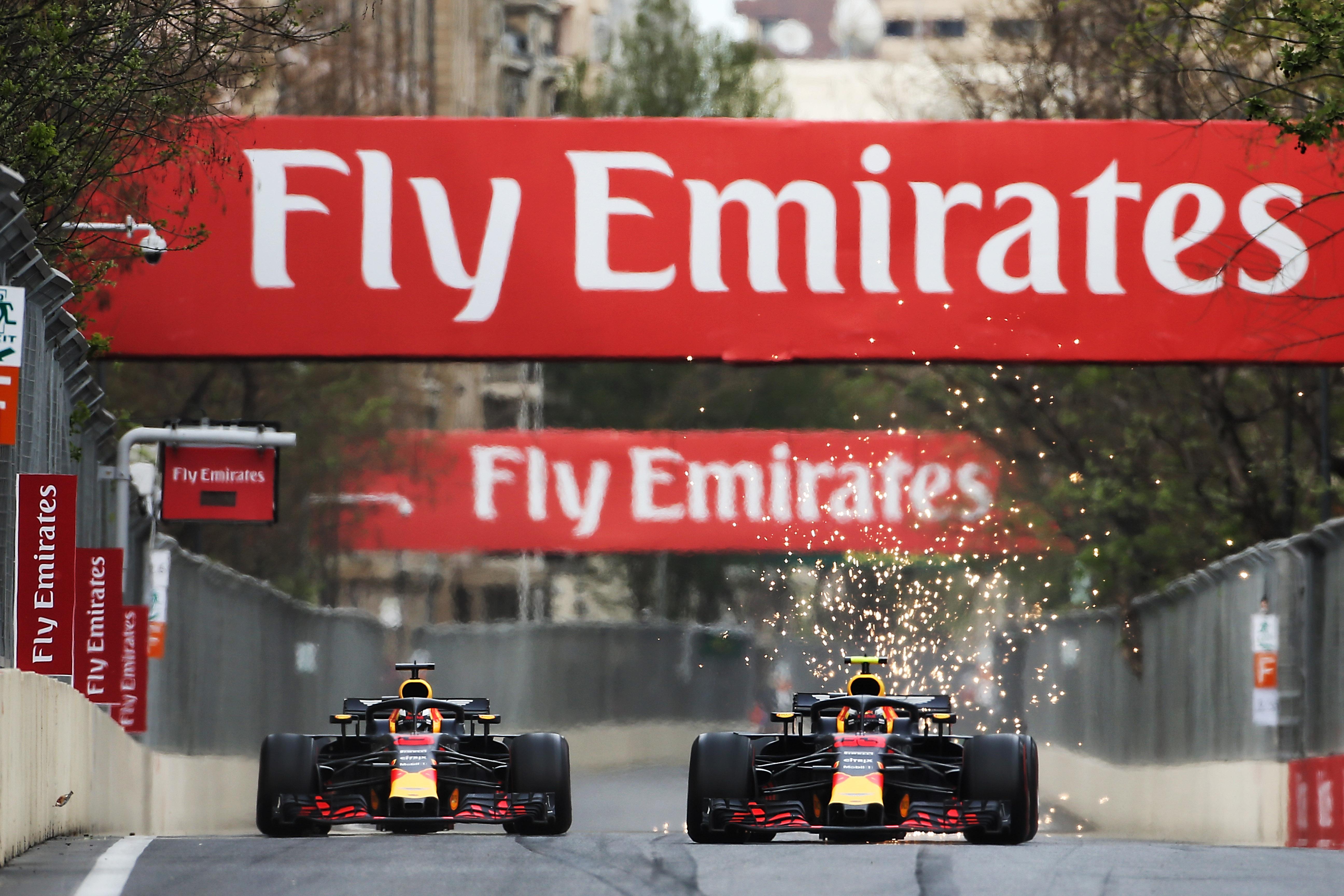 Max Verstappen Daniel Ricciardo Red Bull Azerbaijan Grand Prix 2018 Baku