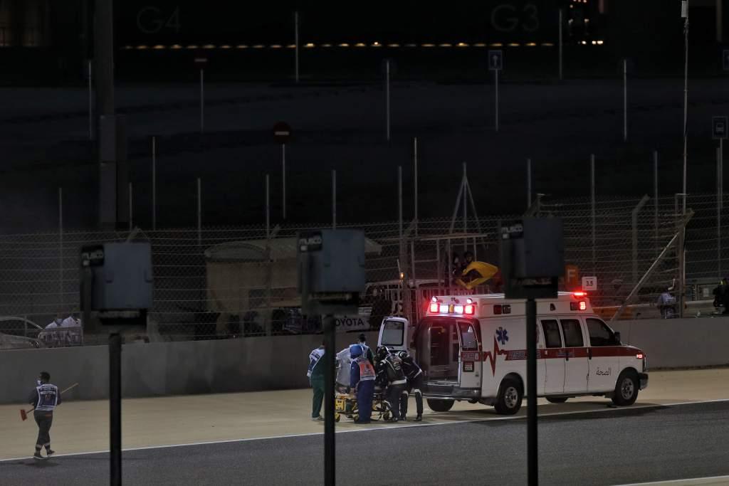 Romain Grosjean gets into the medical car, Bahrain GP, F1 2020