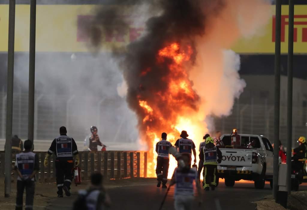 Romain Grosjean crash Bahrain Grand Prix 2020