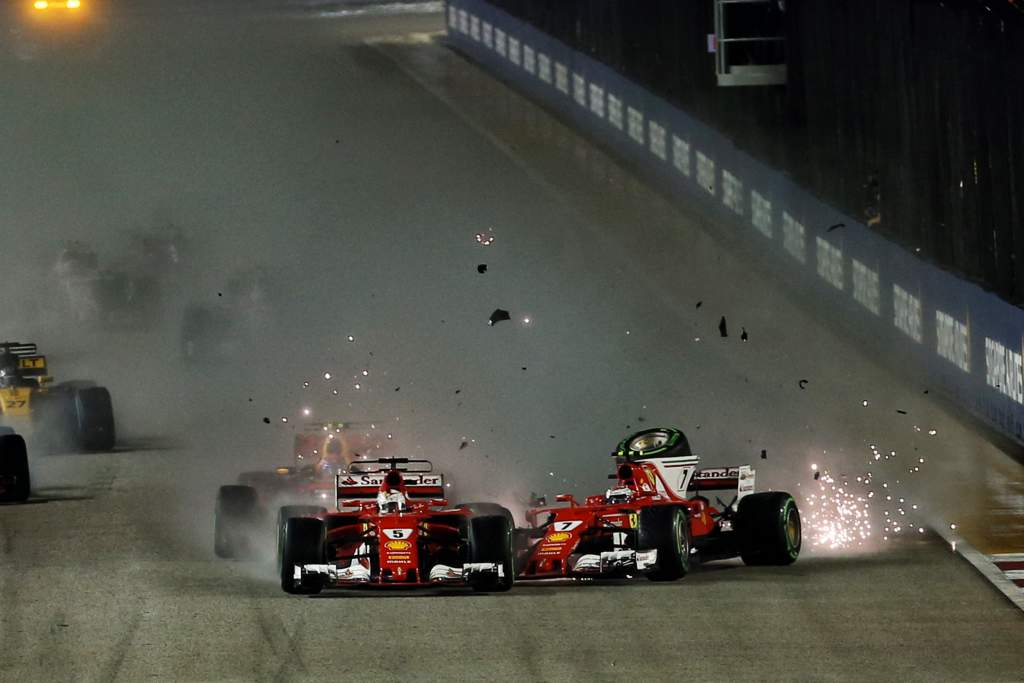 Sebastian Vettel Kimi Raikkonen Ferrari Singapore Grand Prix start crash 2017