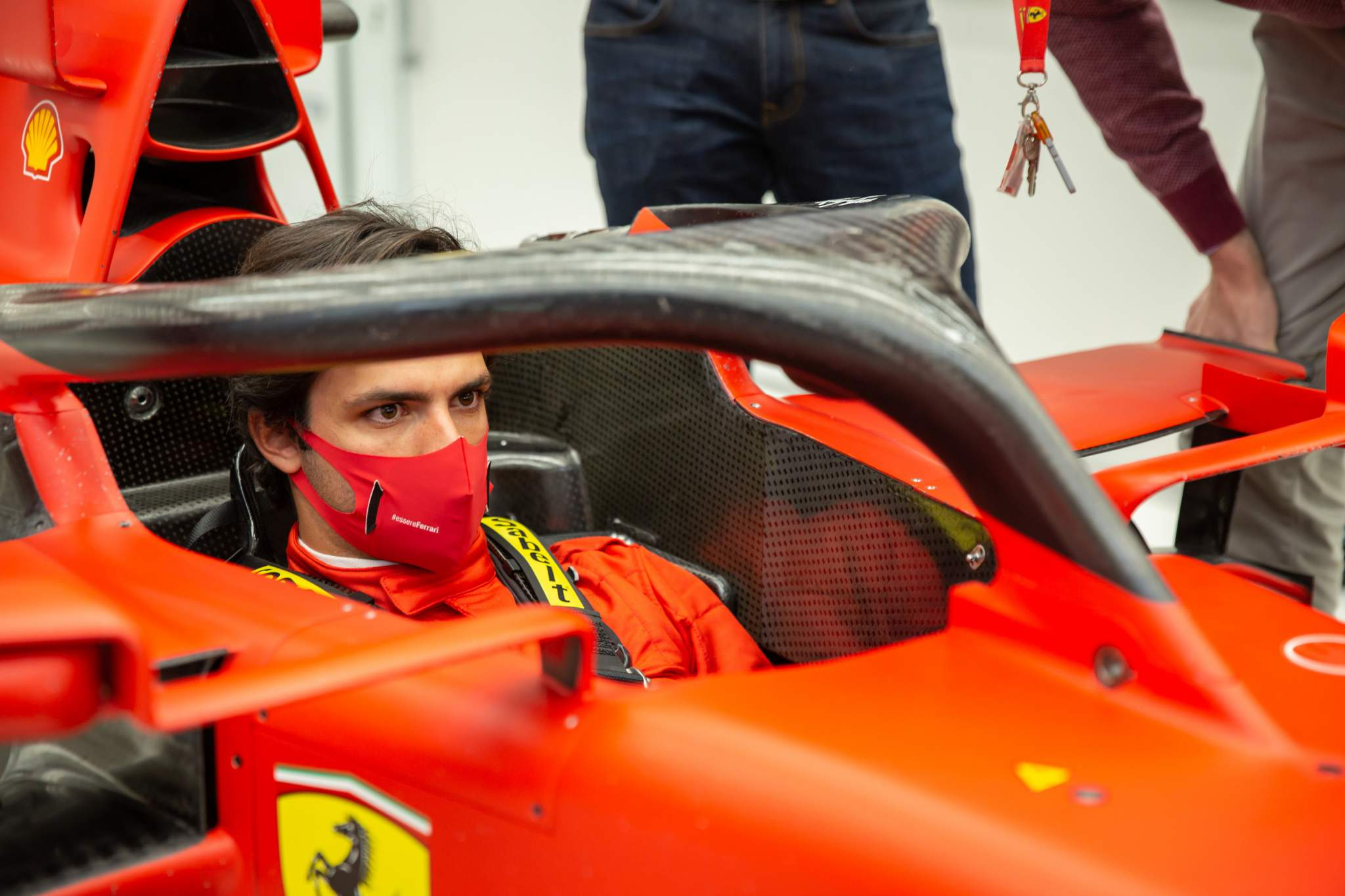 Carlos Sainz Jr Ferrari factory visit seat fit Maranello December 2020