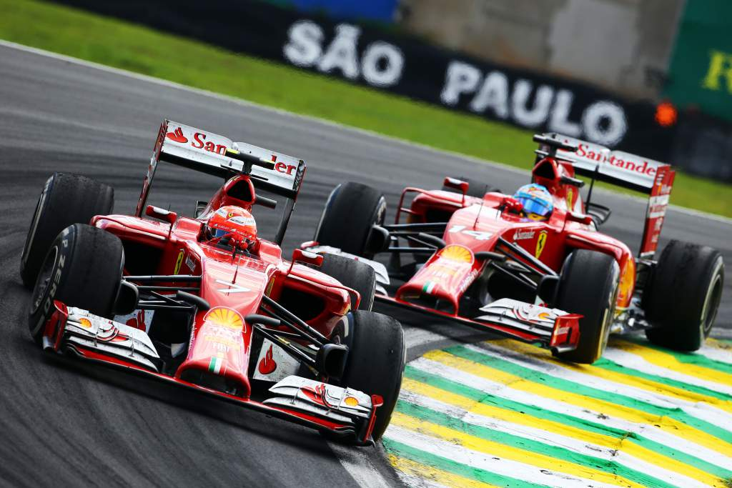 Kimi Raikkonen Fernando Alonso Ferrari Brazilian Grand Prix 2014 Interlagos