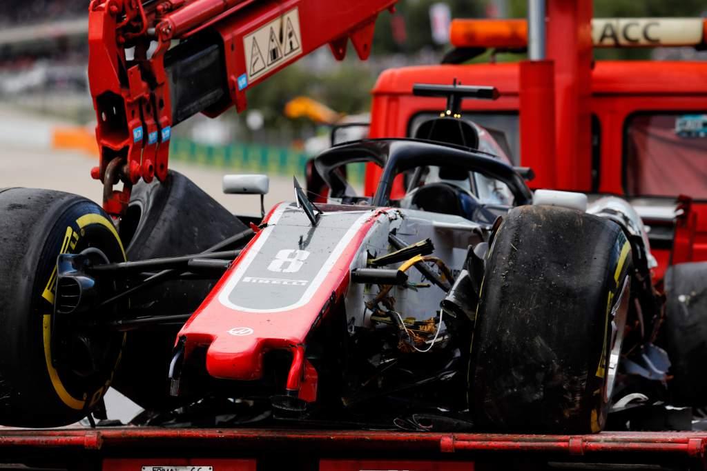 Romain Grosjean Haas damage Spanish Grand Prix 2018